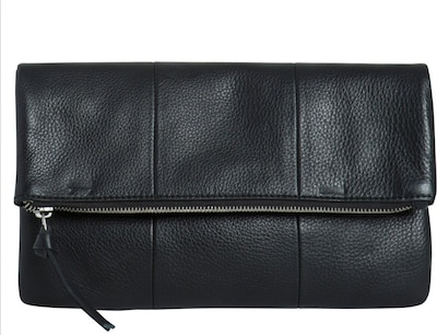 PIECES Quadratische Umklappleder-Clutch