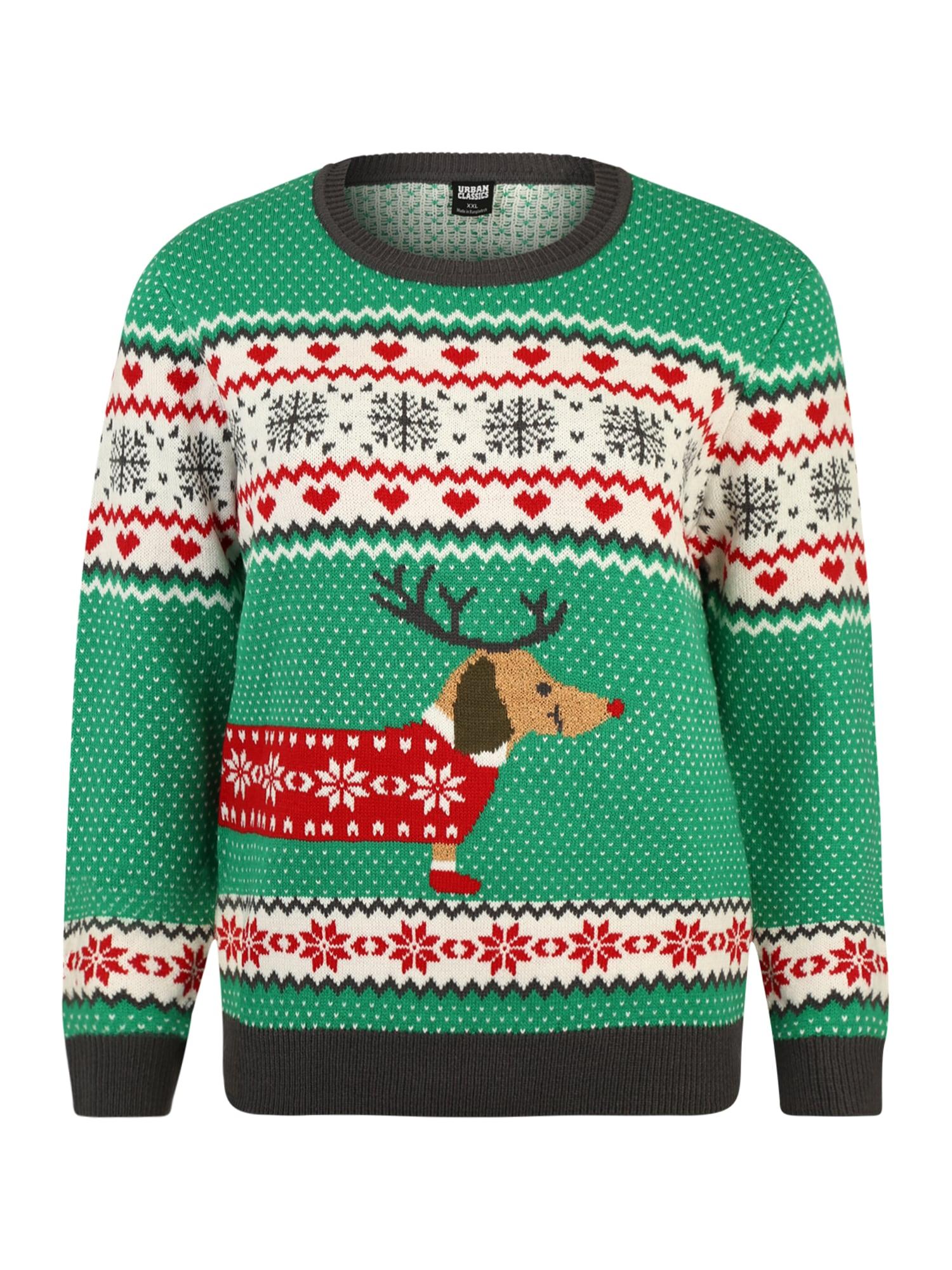 Urban Classics Curvy Sveter 'Ladies Sausage Dog Christmas Sweater'  zmiešané farby / tmavosivá