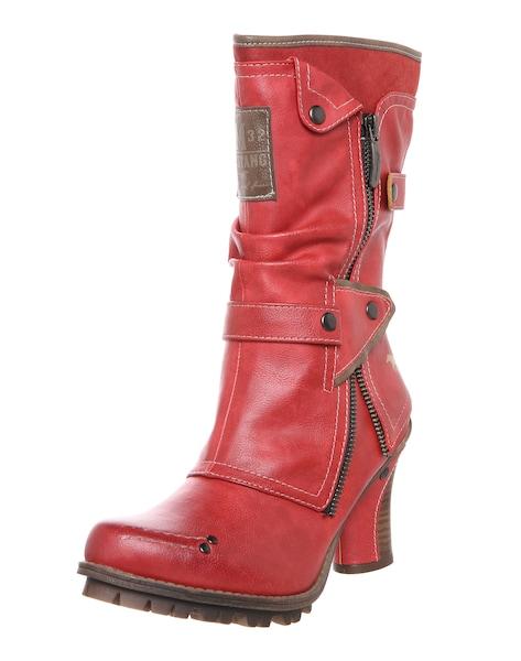 Stiefel für Frauen - Stiefel mit Raffung und Nieten › mustang › rot  - Onlineshop ABOUT YOU