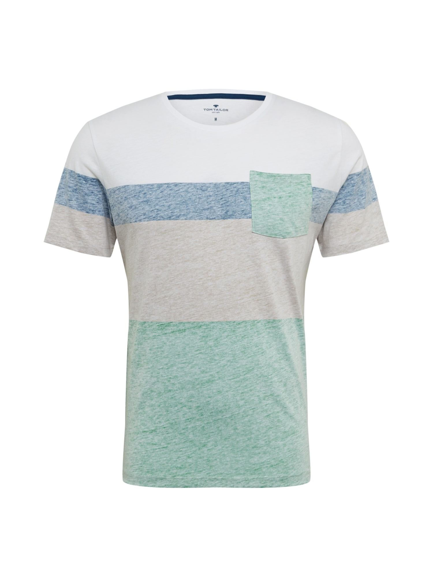 TOM TAILOR Tričko  zelená / modrá / bílá