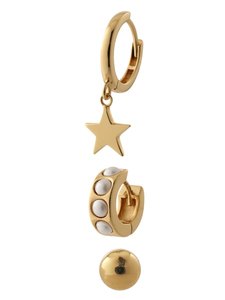 Schmucksets - Ohrringe 'Chunky pearl and star ear party' › Orelia › gold perlweiß  - Onlineshop ABOUT YOU