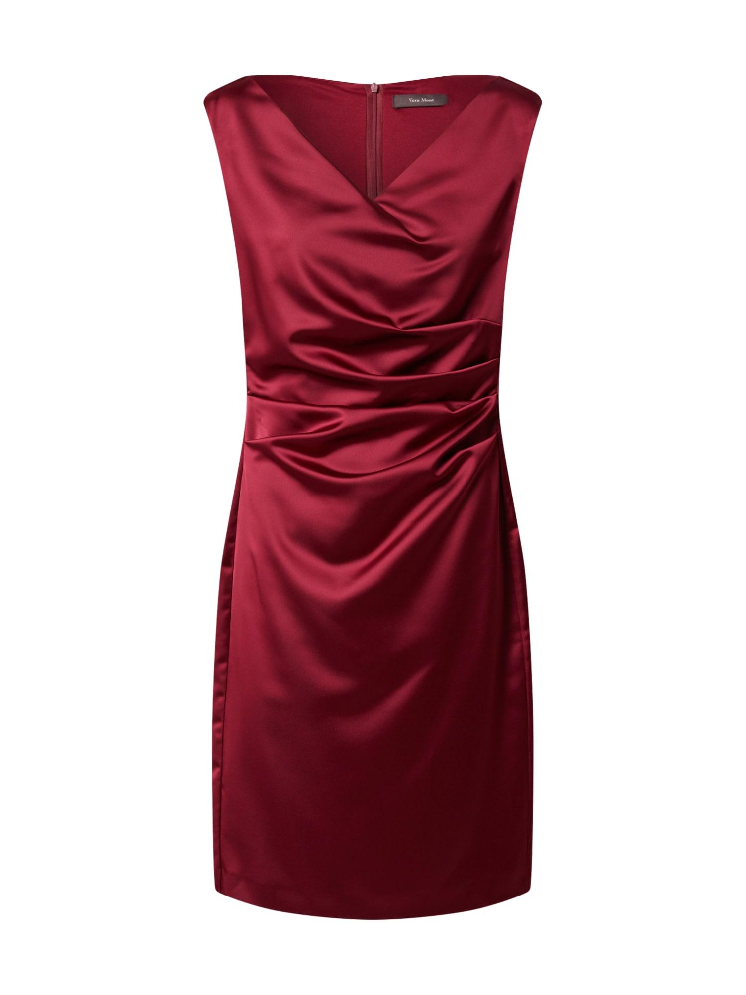 Vera Mont Trumpa kokteilinė suknelė rubinų raudona