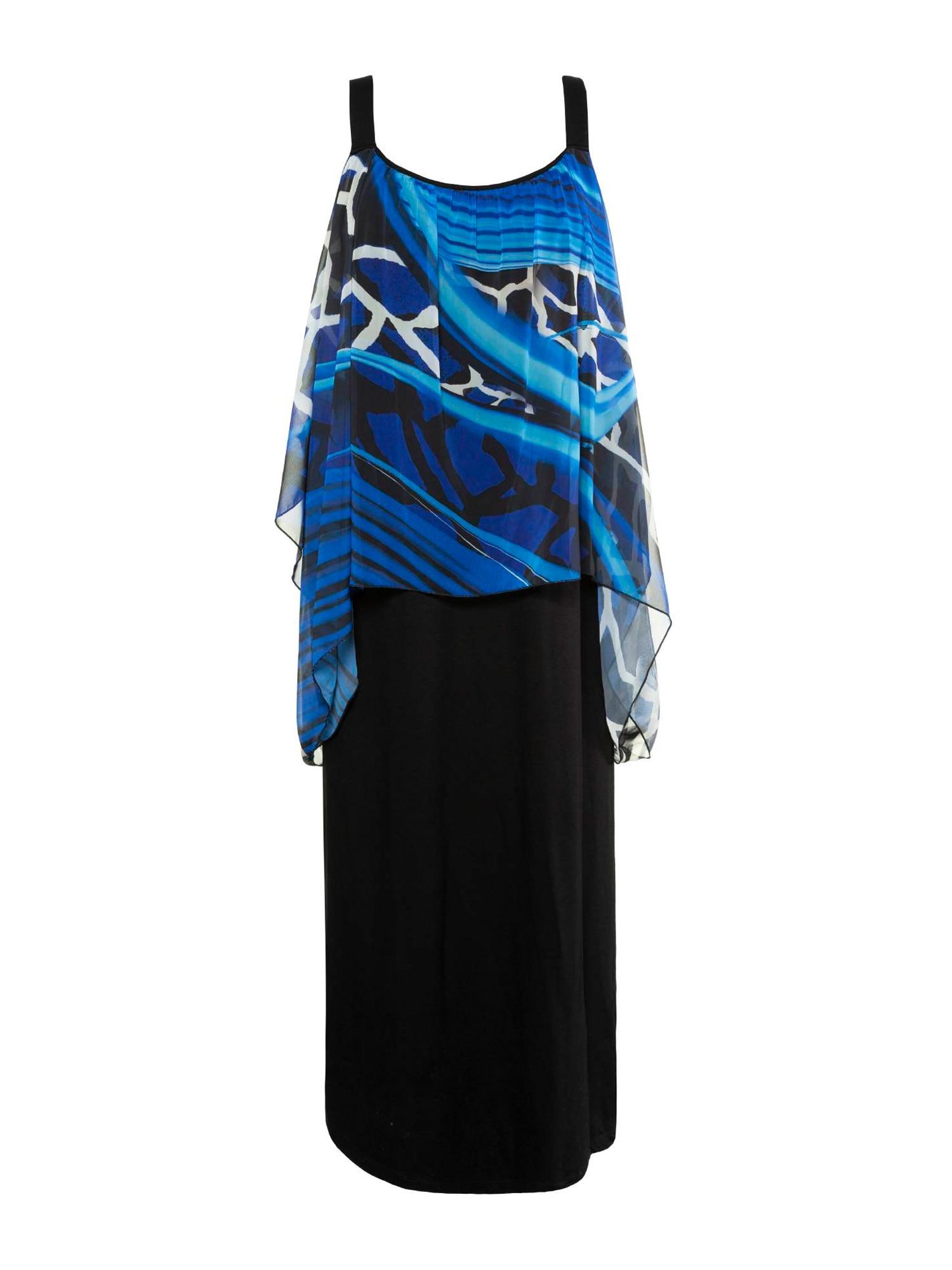 Ulla Popken Plážové šaty 'Giraffe'  čierna / modré / biela