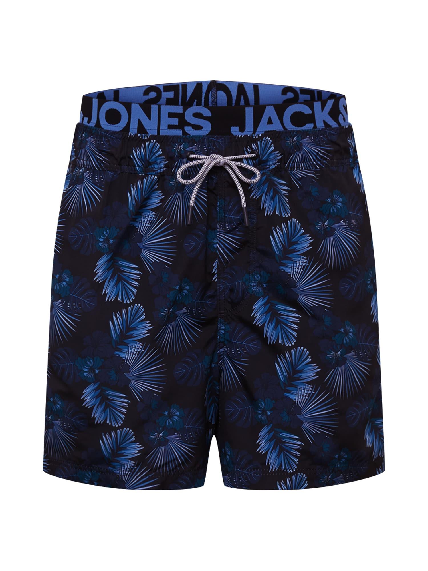 JACK & JONES Plavecké šortky 'JJIARUBA JJSWIMSHORTS AKM DB WB FLOWER'  tmavomodrá / čierna