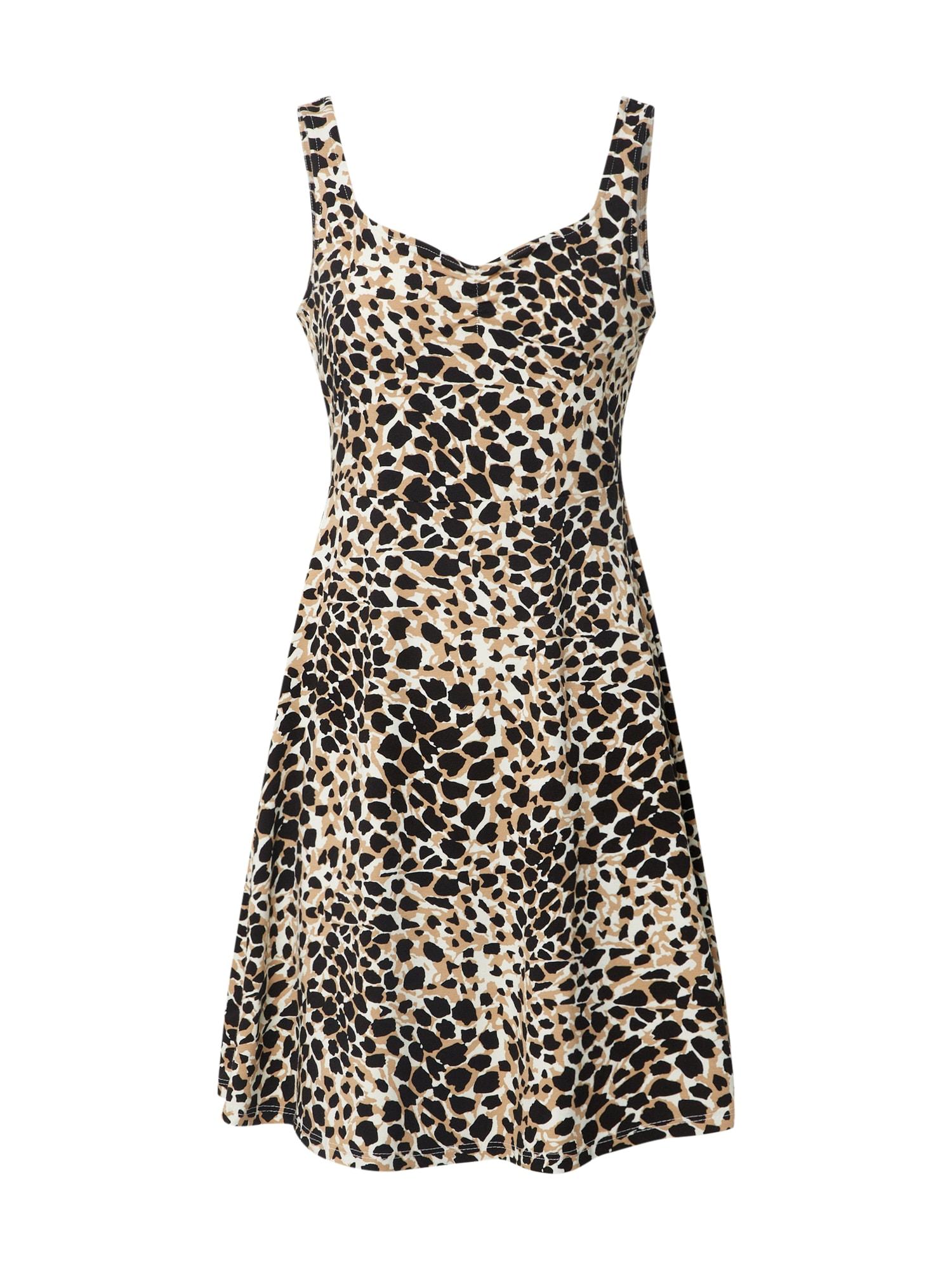 Dorothy Perkins Letné šaty 'Animal Ruched'  biela / béžová
