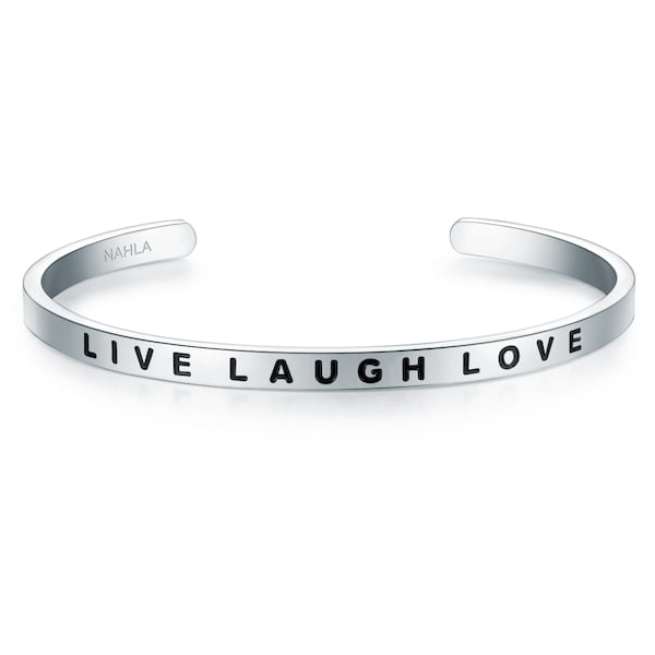 Armbaender für Frauen - Nahla Jewels Armband Bangle mit LIVE LAUGH LOVE Gravur schwarz silber  - Onlineshop ABOUT YOU