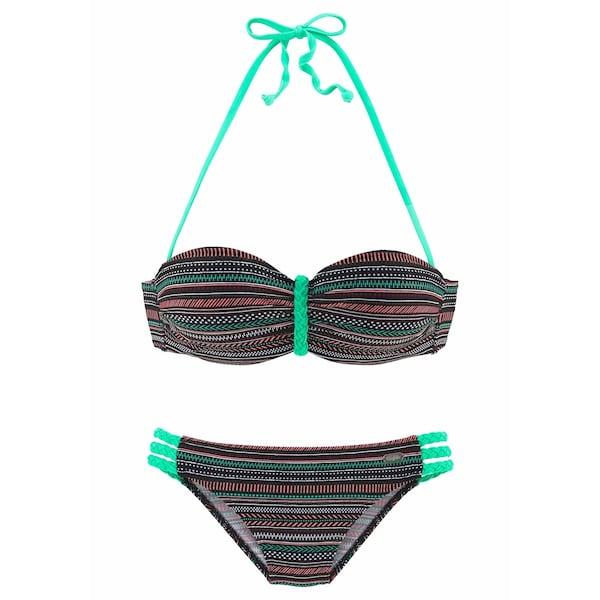 Bademode für Frauen - BUFFALO Bügel Bandeau Bikini grün schwarz weiß  - Onlineshop ABOUT YOU