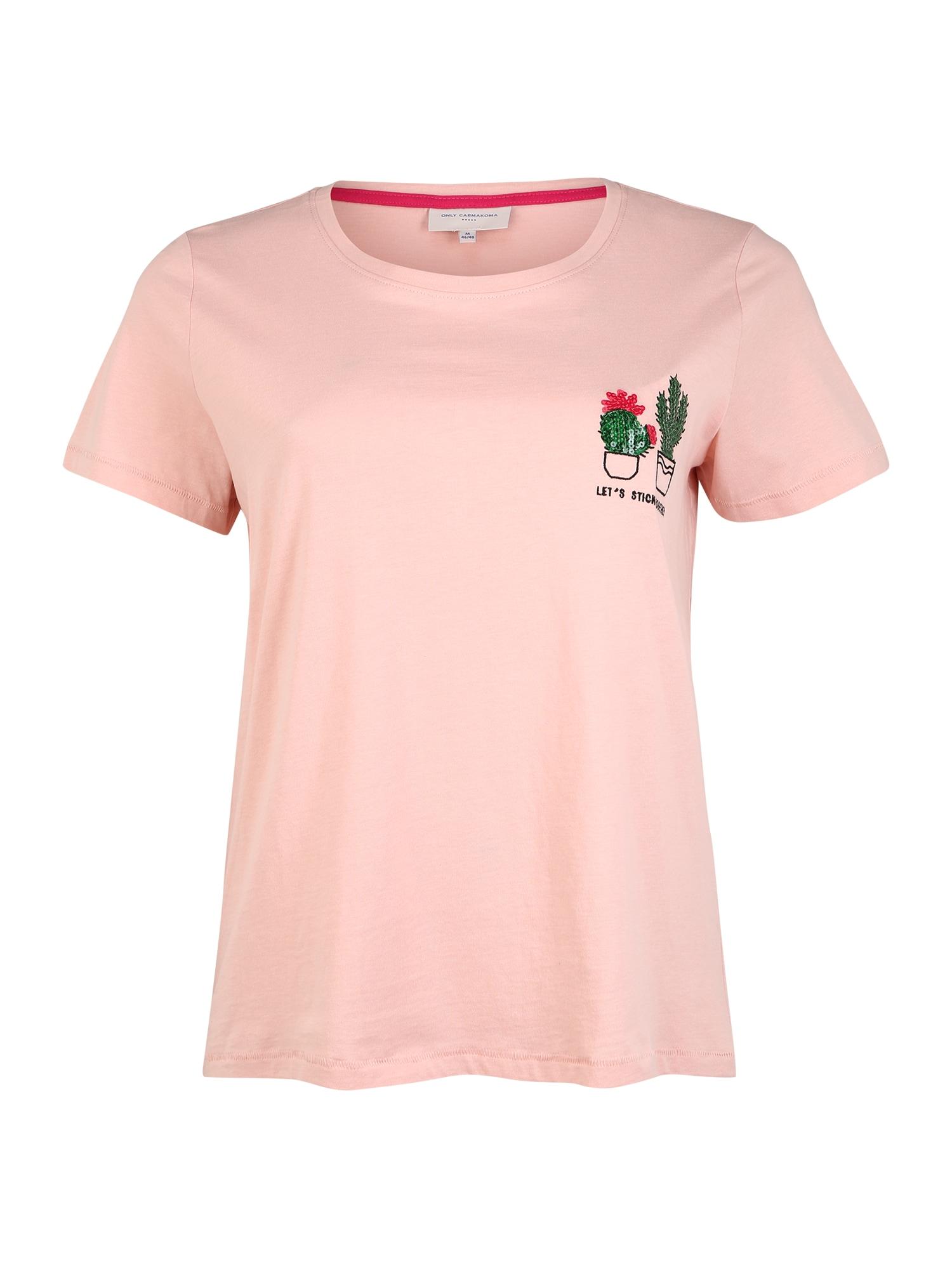 ONLY Carmakoma Marškinėliai 'CARCHASE LIFE SS REG TEE' rožių spalva