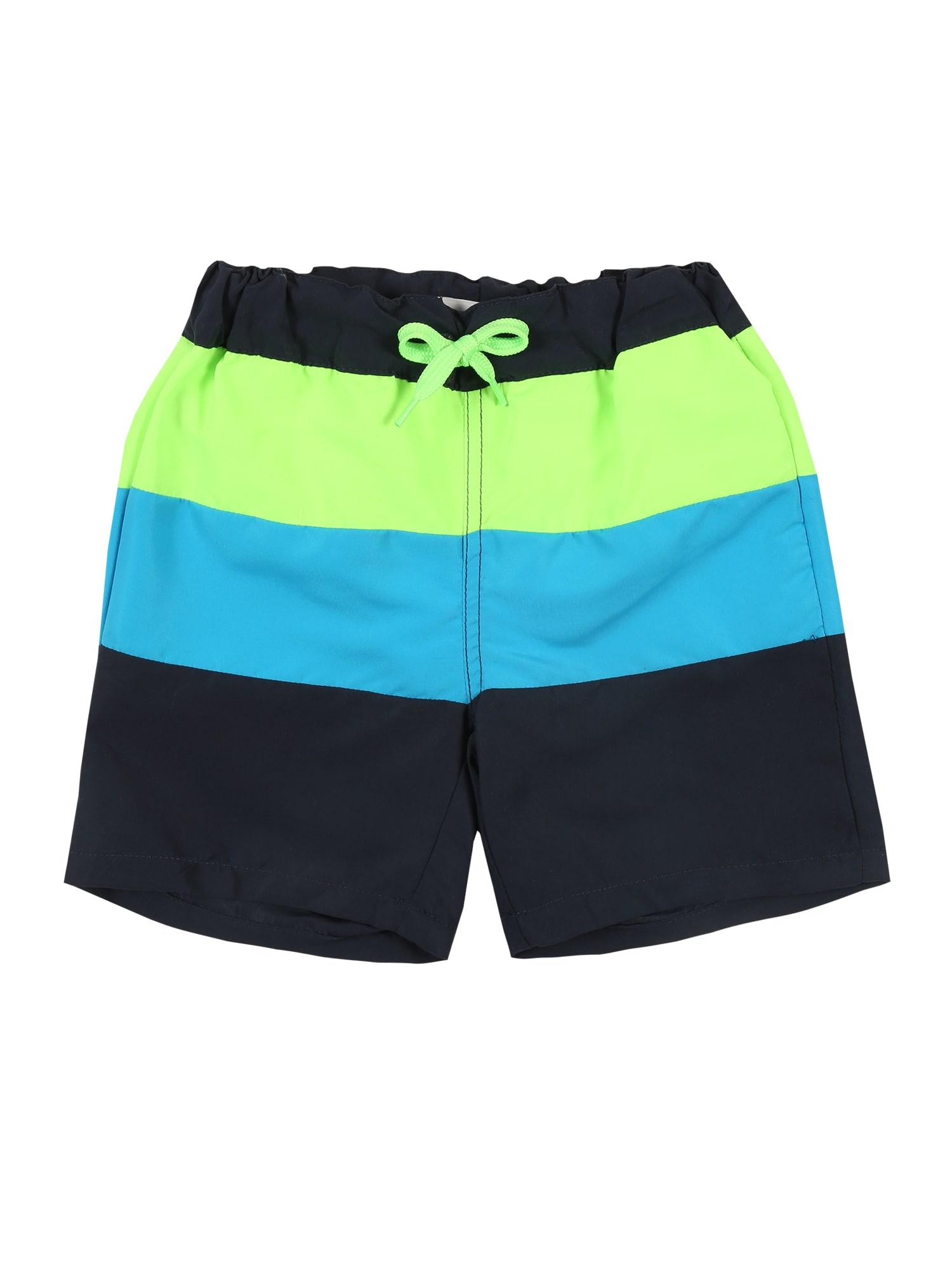 NAME IT Plavecké šortky  vodová / námornícka modrá / svetlozelená