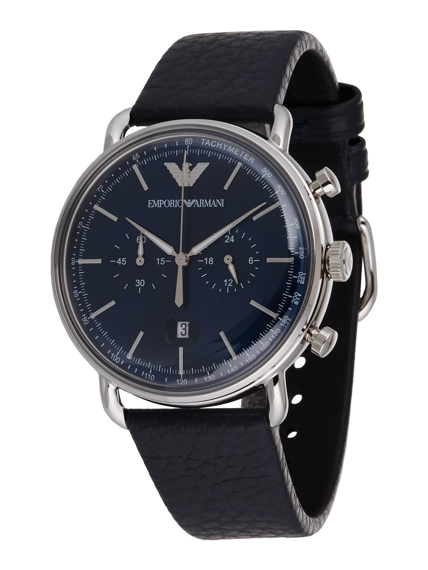 Emporio Armani Analoginis (įprasto dizaino) laikrodis 'AR11105' sidabrinė / juoda