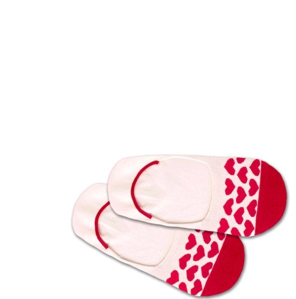 Socken für Frauen - DillySocks Füßlinge 'Hidden Heartbeat' rot weiß  - Onlineshop ABOUT YOU