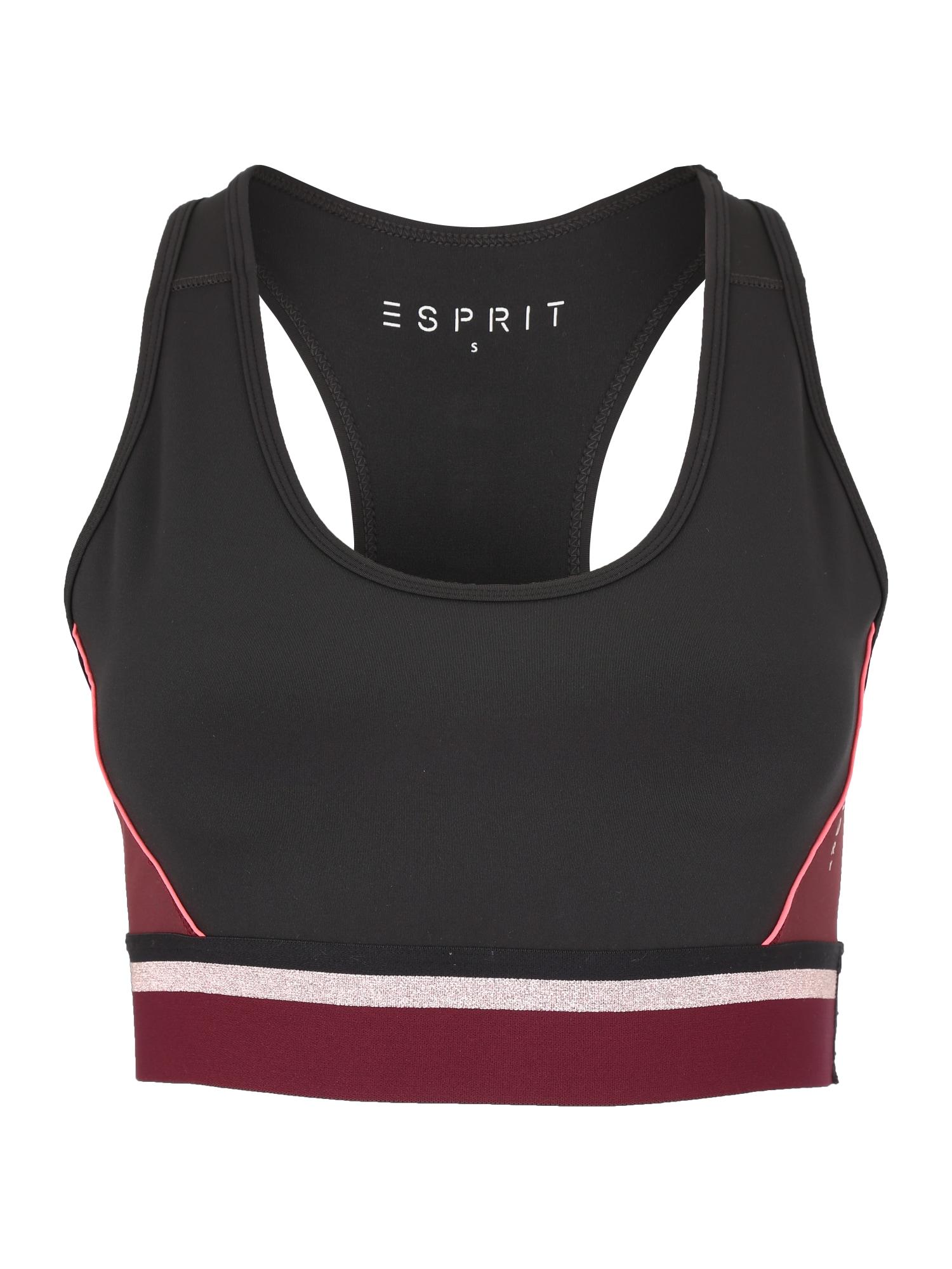 Sportovní podprsenka bordó černá ESPRIT SPORTS