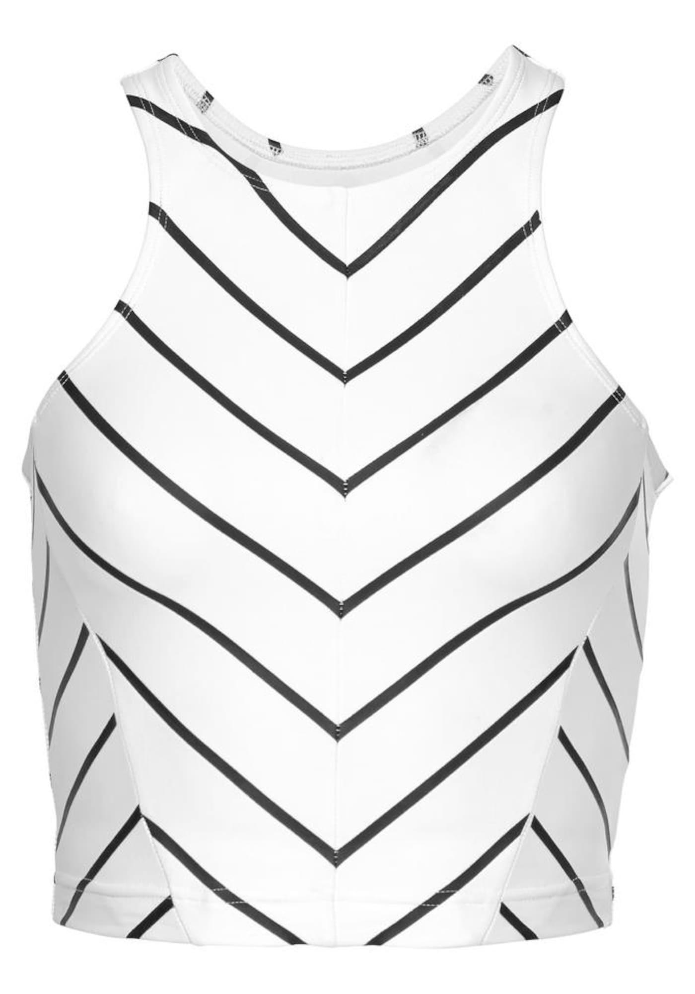 LASCANA ACTIVE Sportiniai marškinėliai be rankovių balta / juoda