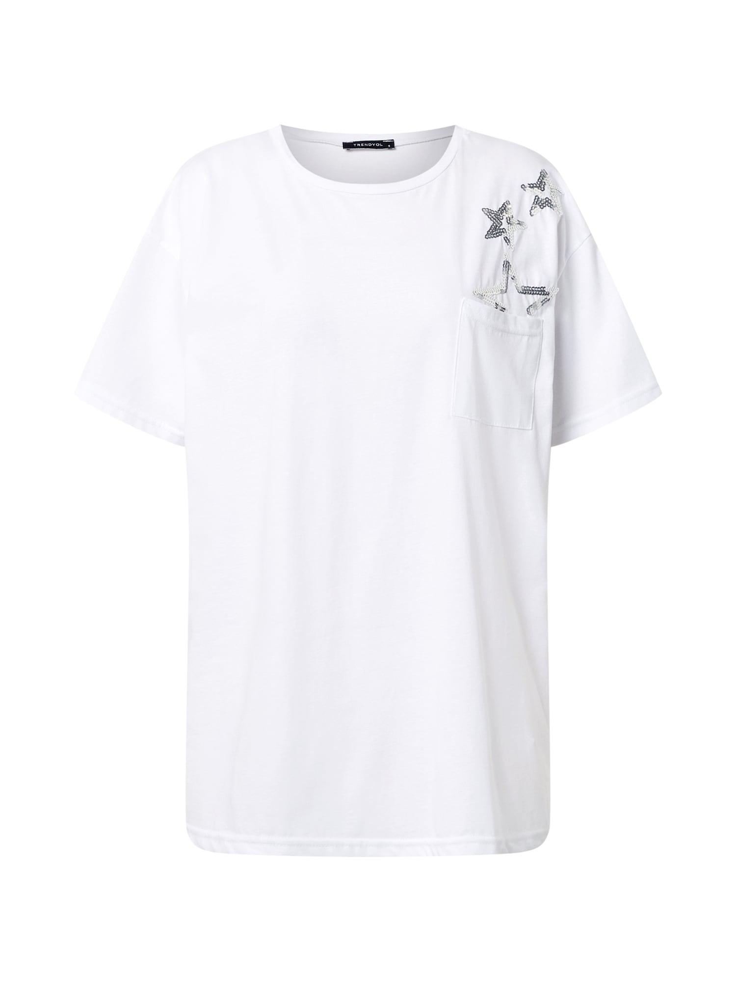 Trendyol Marškinėliai balta / sidabrinė