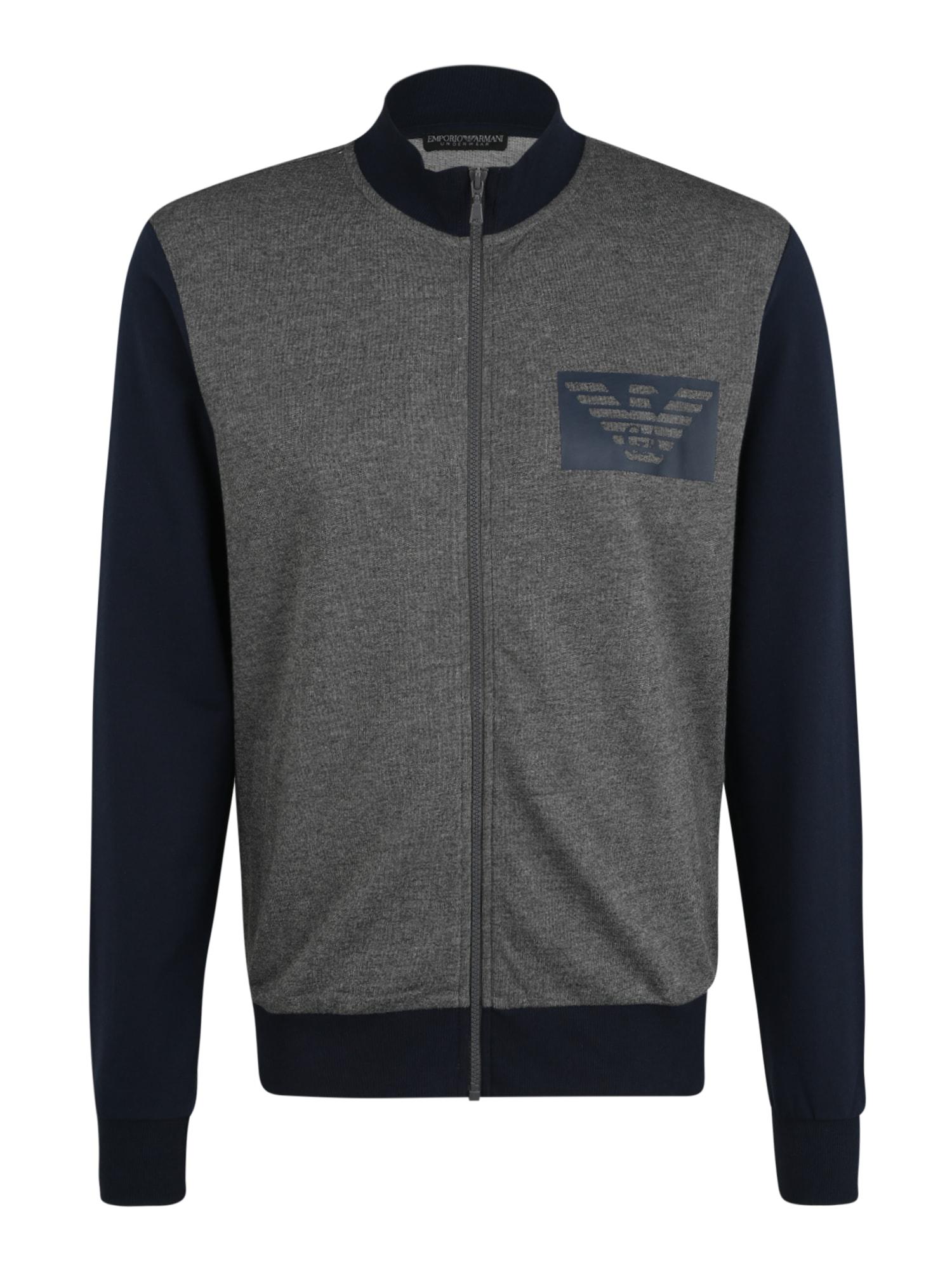 Emporio Armani Mikina s kapucí  tmavě šedá / tmavě modrá