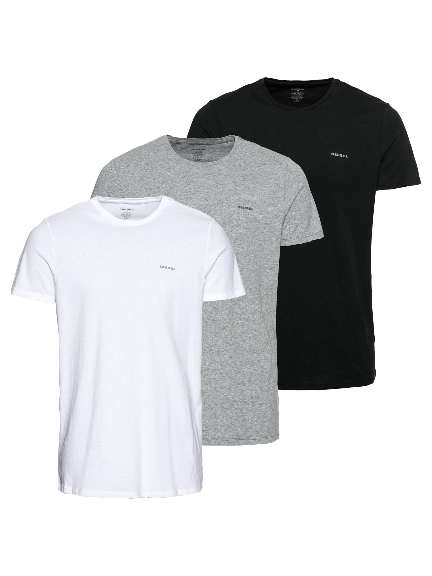 DIESEL Marškinėliai balta / margai pilka / juoda