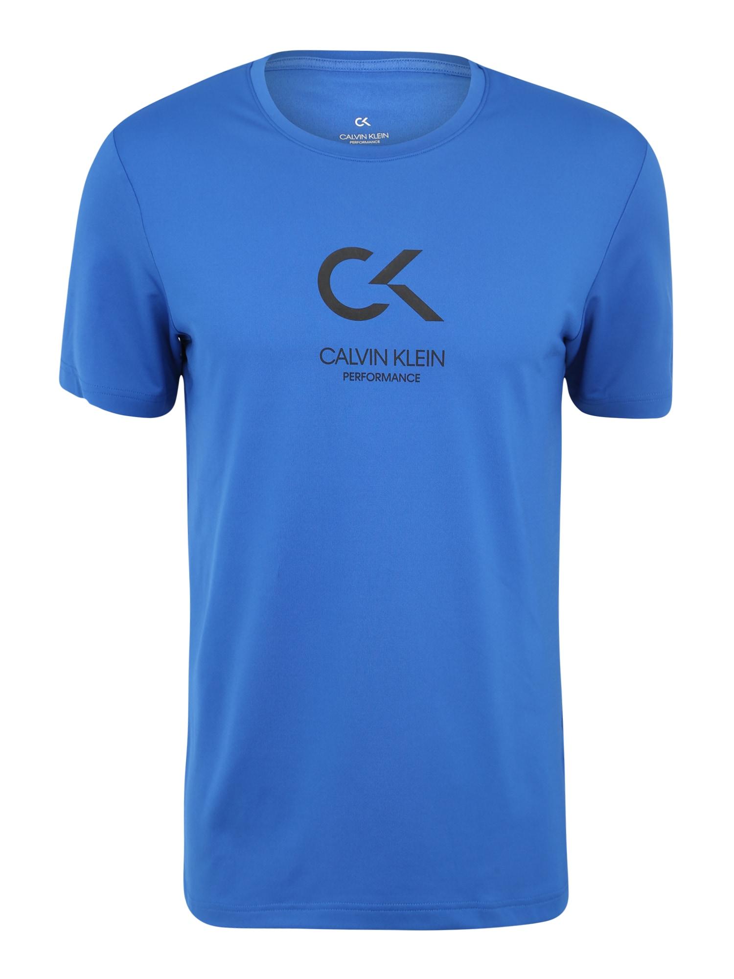 Funkční tričko SHORT SLEEVE LOGO TEE modrá bílá Calvin Klein Performance