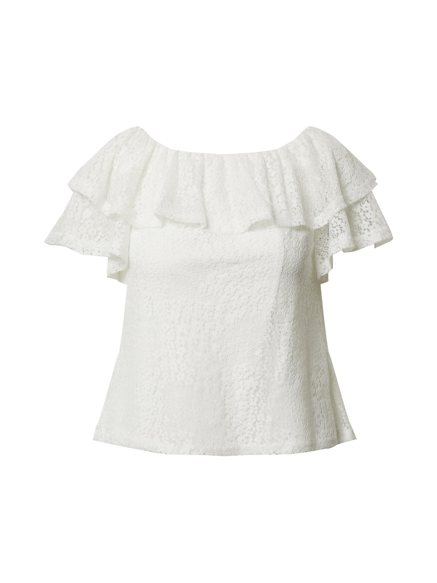 Dorothy Perkins Marškinėliai 'Ivory lace ruffle bardot top' balta