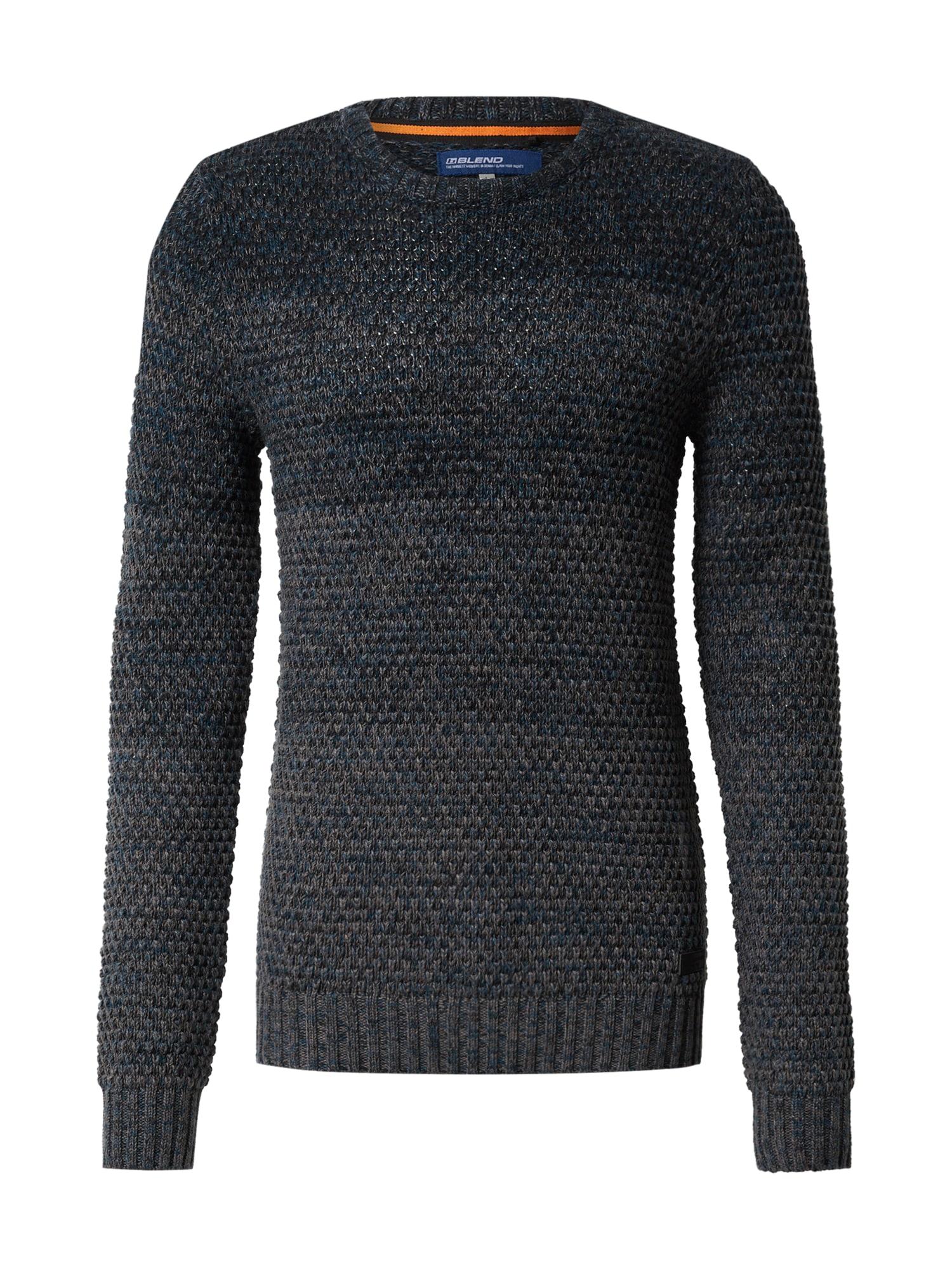 BLEND Megztinis mėlyna / pilka / tamsiai pilka / juoda