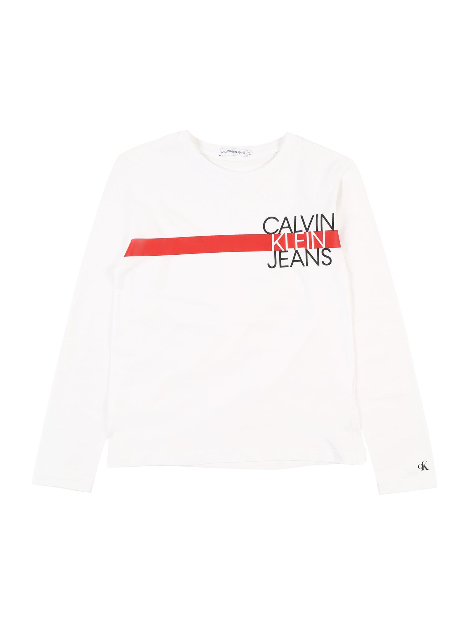 Calvin Klein Jeans Marškinėliai balta / raudona / juoda