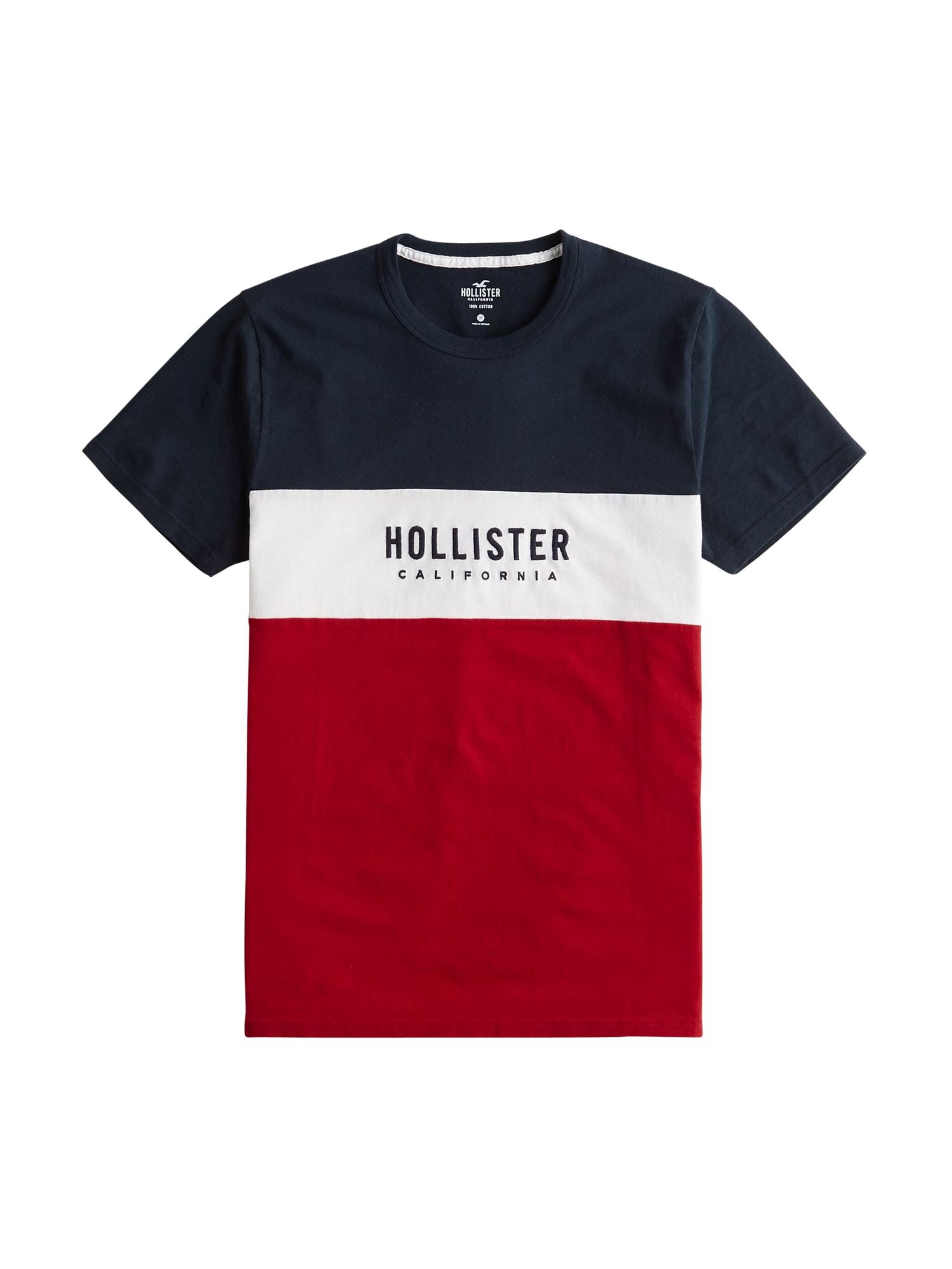 HOLLISTER Tričko 'SS TECH LOGO BLOCK/TAPE'  bílá / modrá / červená