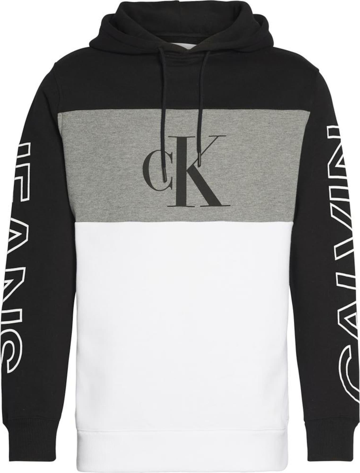 Calvin Klein Jeans Megztinis be užsegimo juoda / balta / margai pilka