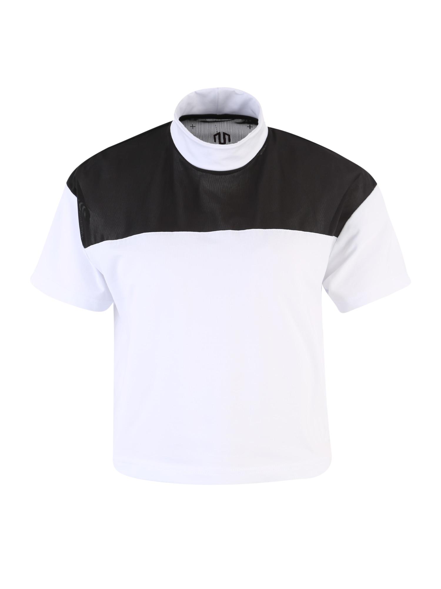 MOROTAI Sportiniai marškinėliai 'NAKA WB Mesh Tee' juoda / balta