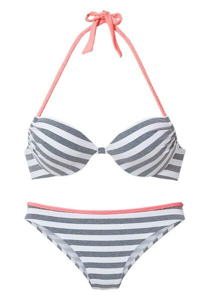 Bademode für Frauen - VENICE BEACH Push up Bikini blau koralle weiß  - Onlineshop ABOUT YOU