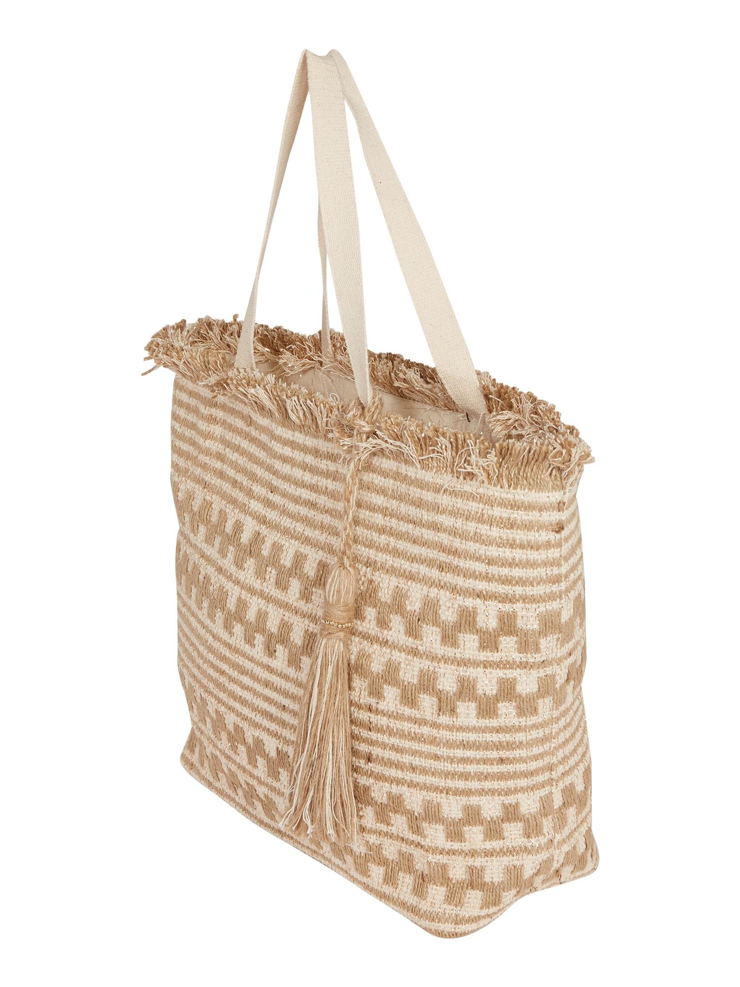 Dorothy Perkins Pirkinių krepšys 'Beach' smėlio / balkšva
