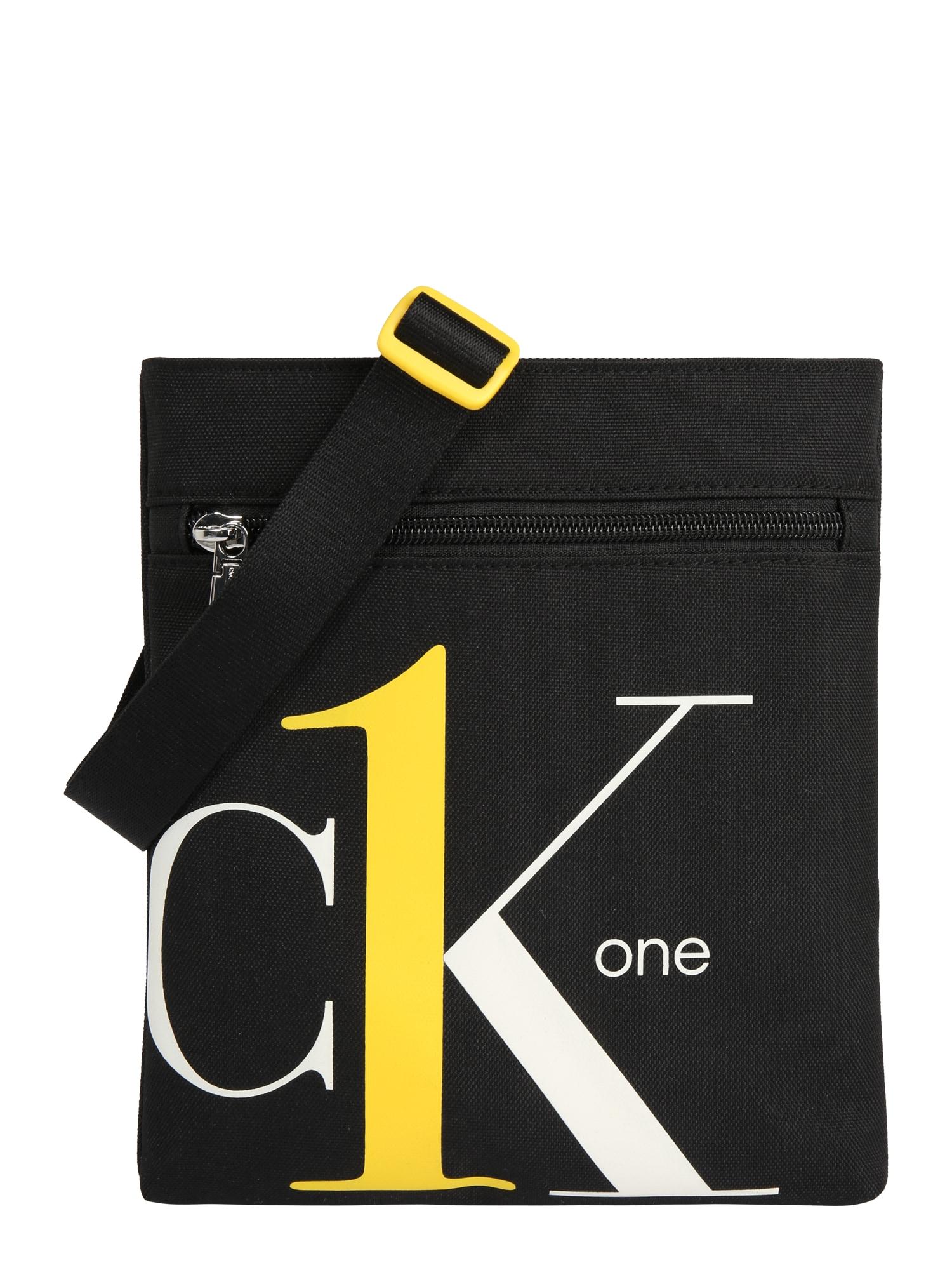 Calvin Klein Jeans Rankinė su ilgu dirželiu 'CK1 MICRO FLATPACK' balta / juoda / geltona