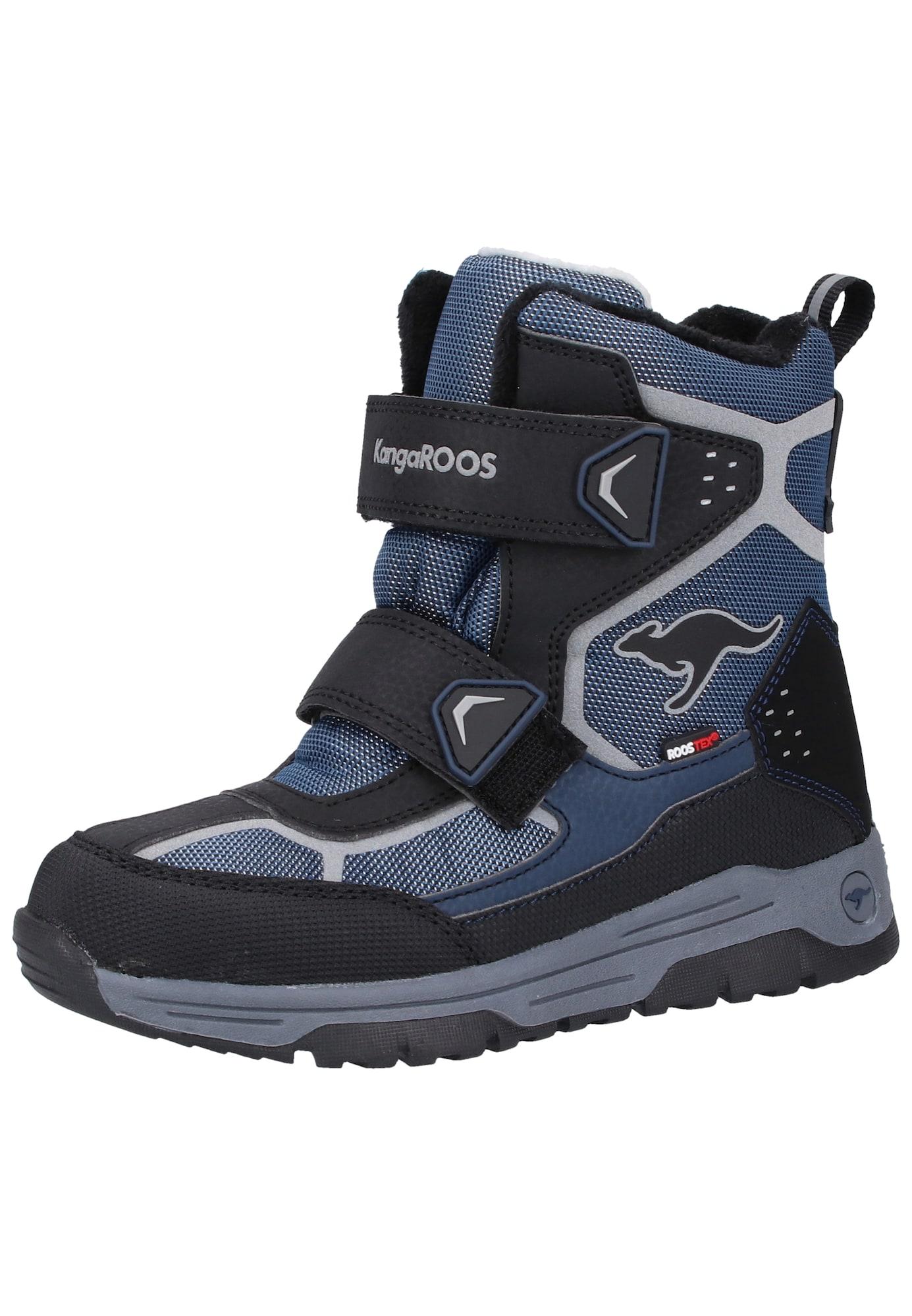KangaROOS Sniego batai 'Trooper' juoda / melsvai pilka