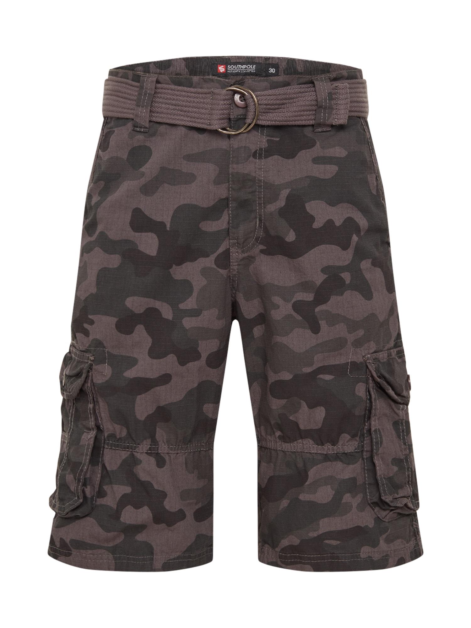 SOUTHPOLE Laisvo stiliaus kelnės 'Belted Camo Ripstop' pilka / juoda