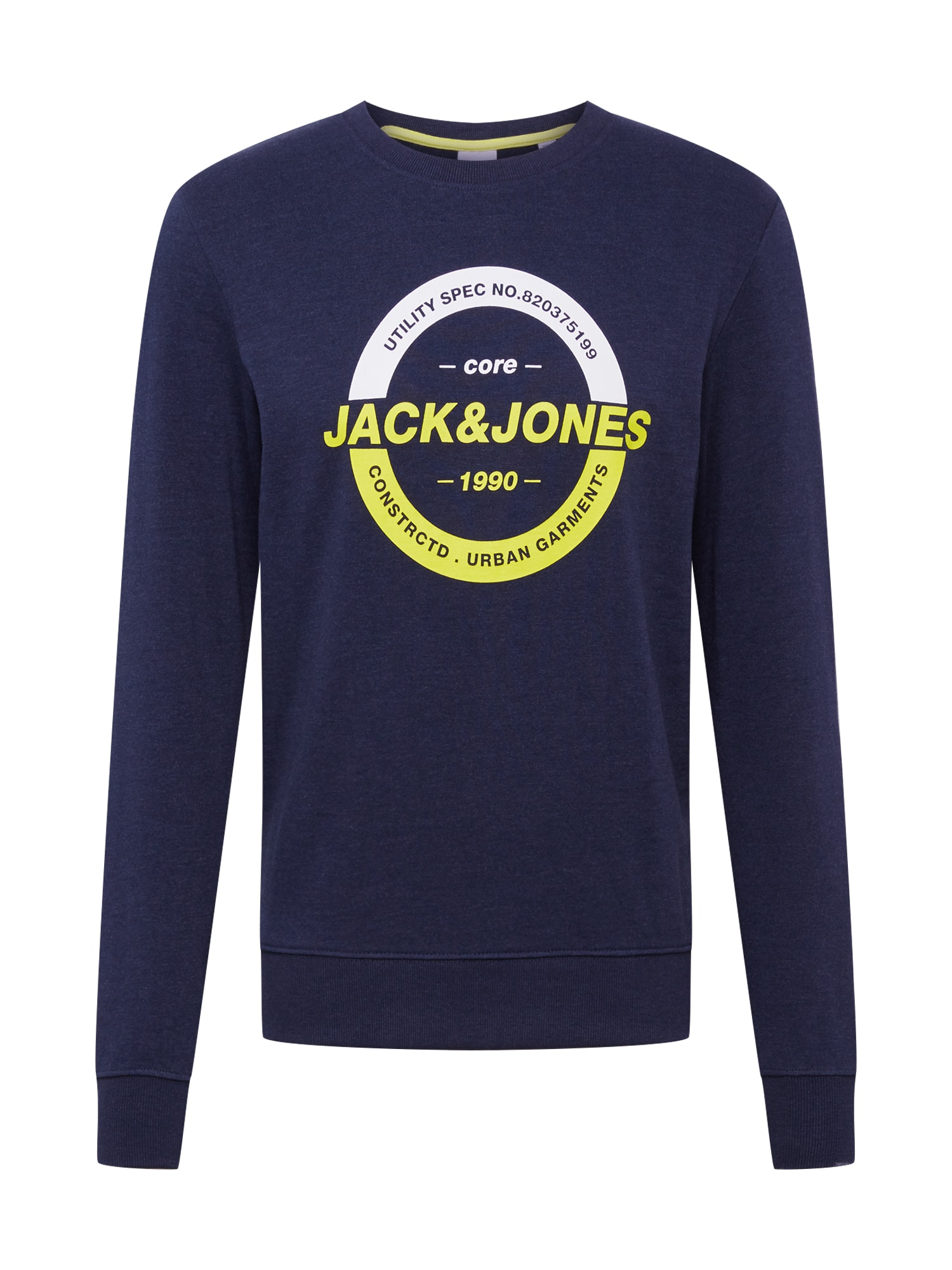 JACK & JONES Mikina 'JCOSTRONG SWEAT CREW NECK'  žlté / tmavomodrá / biela