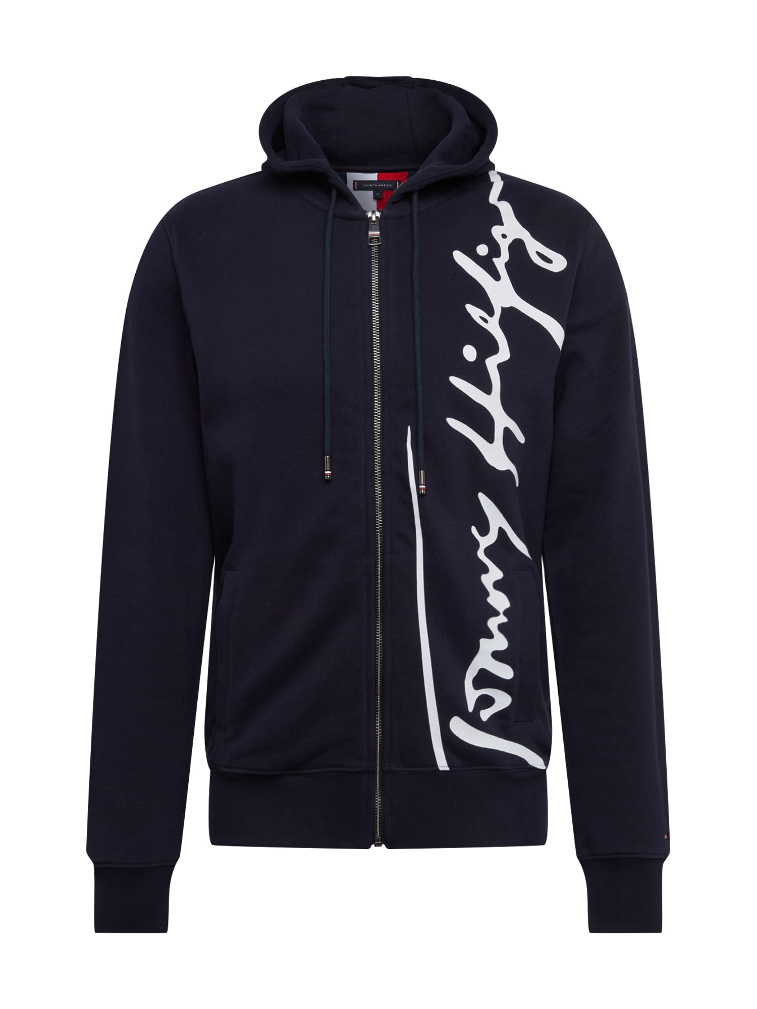 TOMMY HILFIGER Džemperis 'SIGNATURE HOODED ZIP THROUGH' tamsiai mėlyna