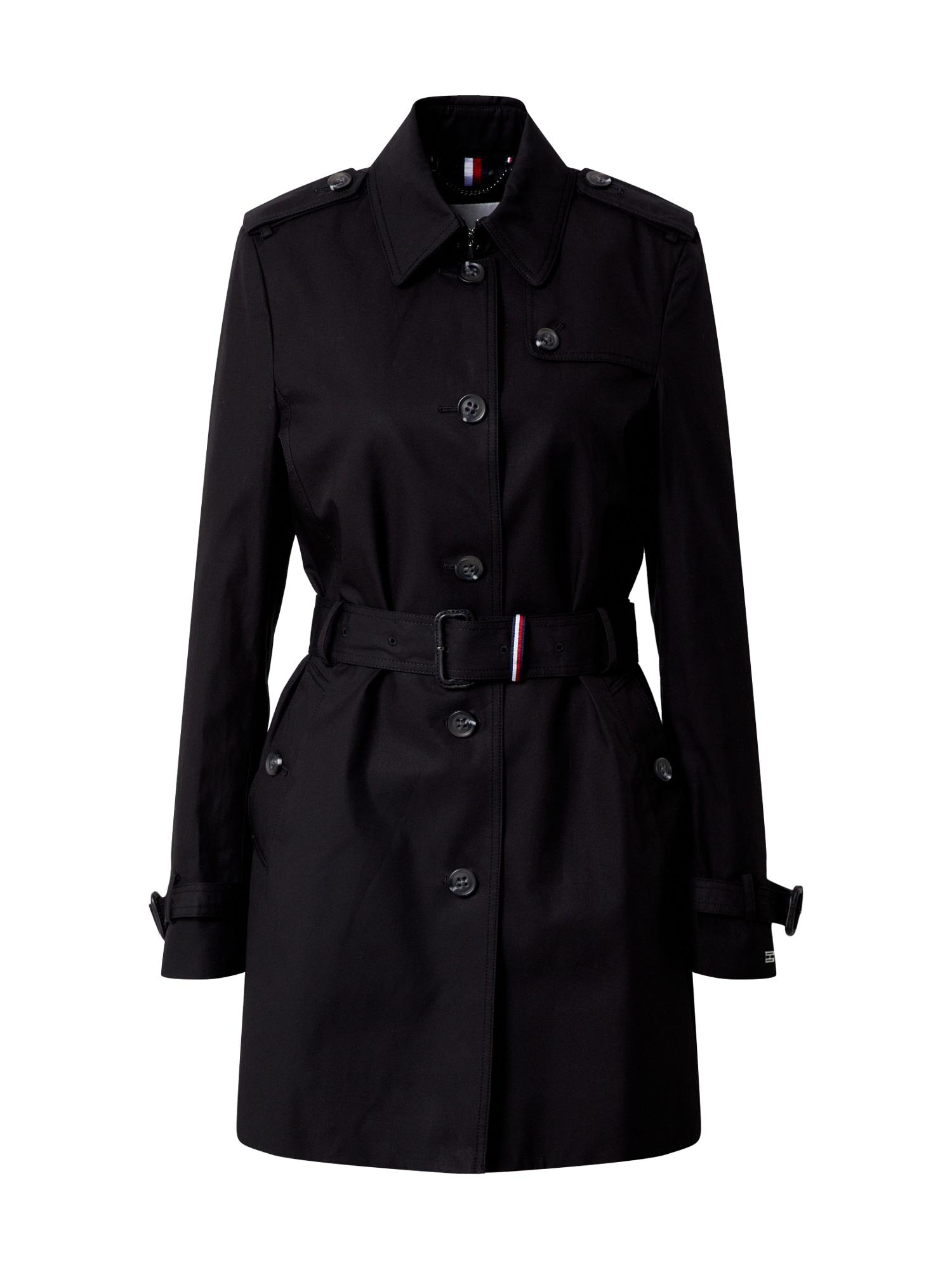 TOMMY HILFIGER Prechodný kabát 'SINGLE BREASTED TRENCH'  čierna