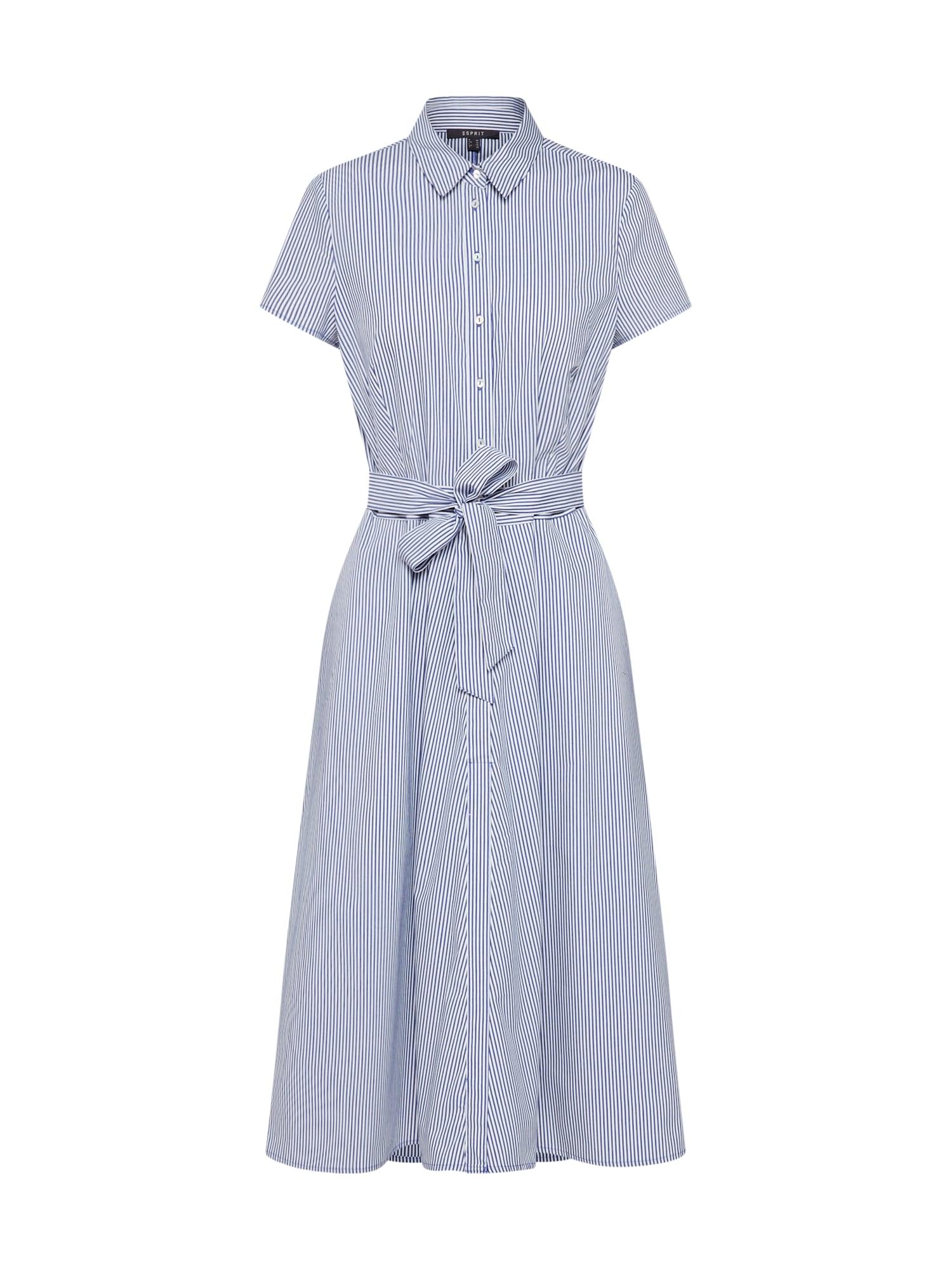 Košilové šaty světlemodrá bílá Esprit Collection
