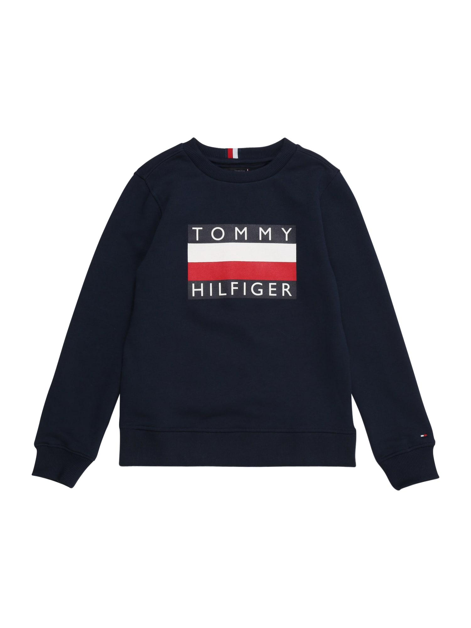 TOMMY HILFIGER Mikina  červené / biela / námornícka modrá