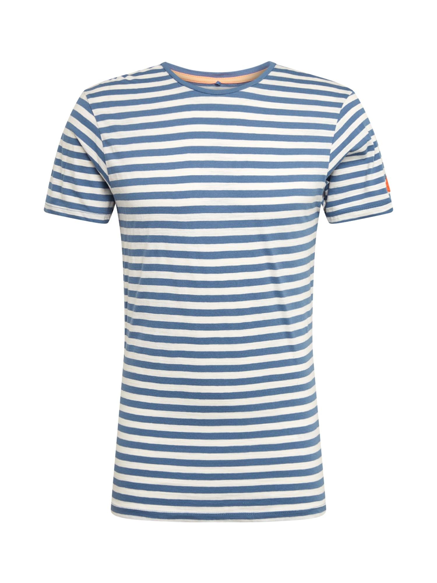 BLEND Marškinėliai mėlyna / balta