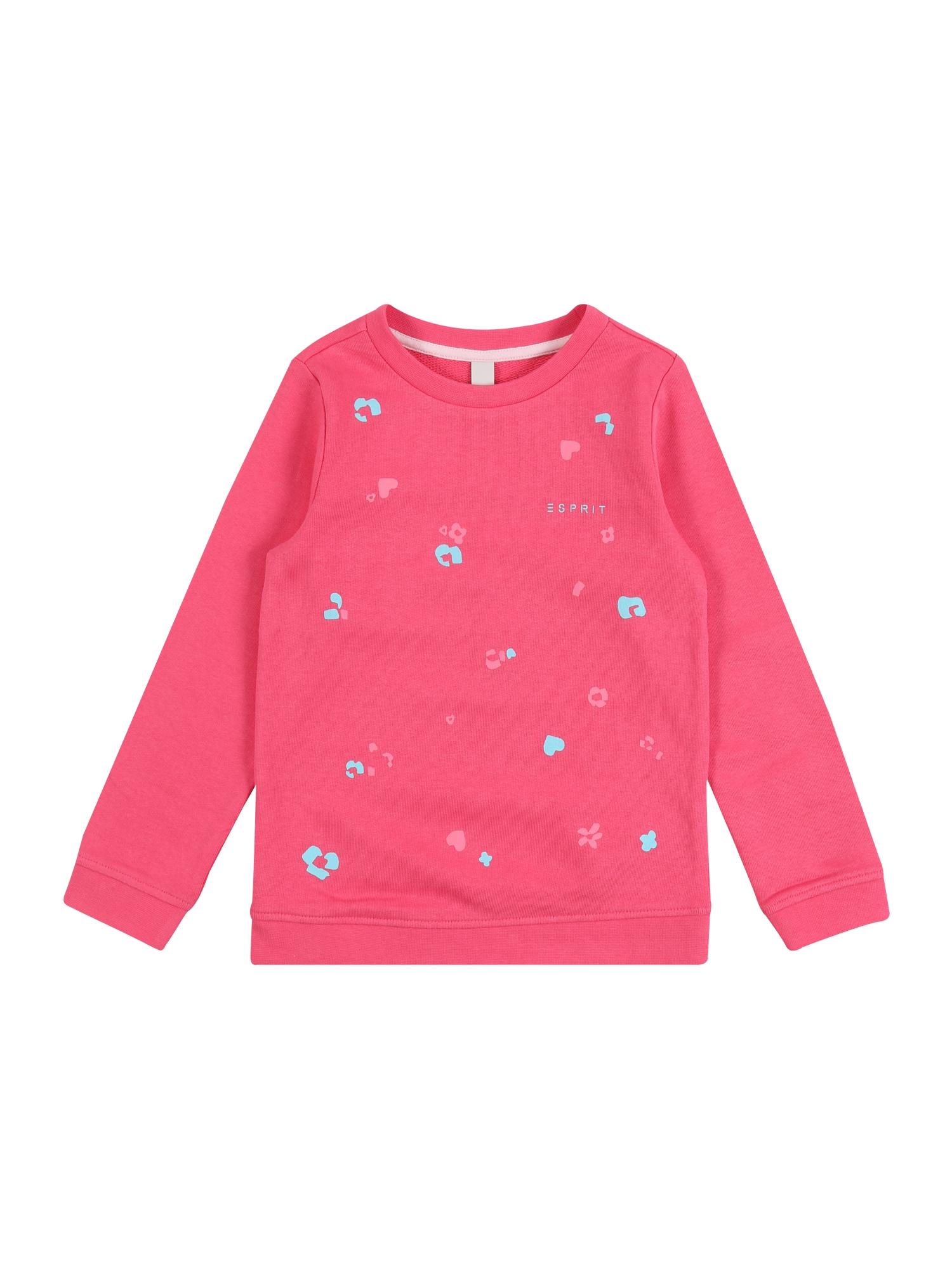 ESPRIT Megztinis be užsegimo 'SWEAT SHIRt' rožinė / rožių spalva / šviesiai mėlyna