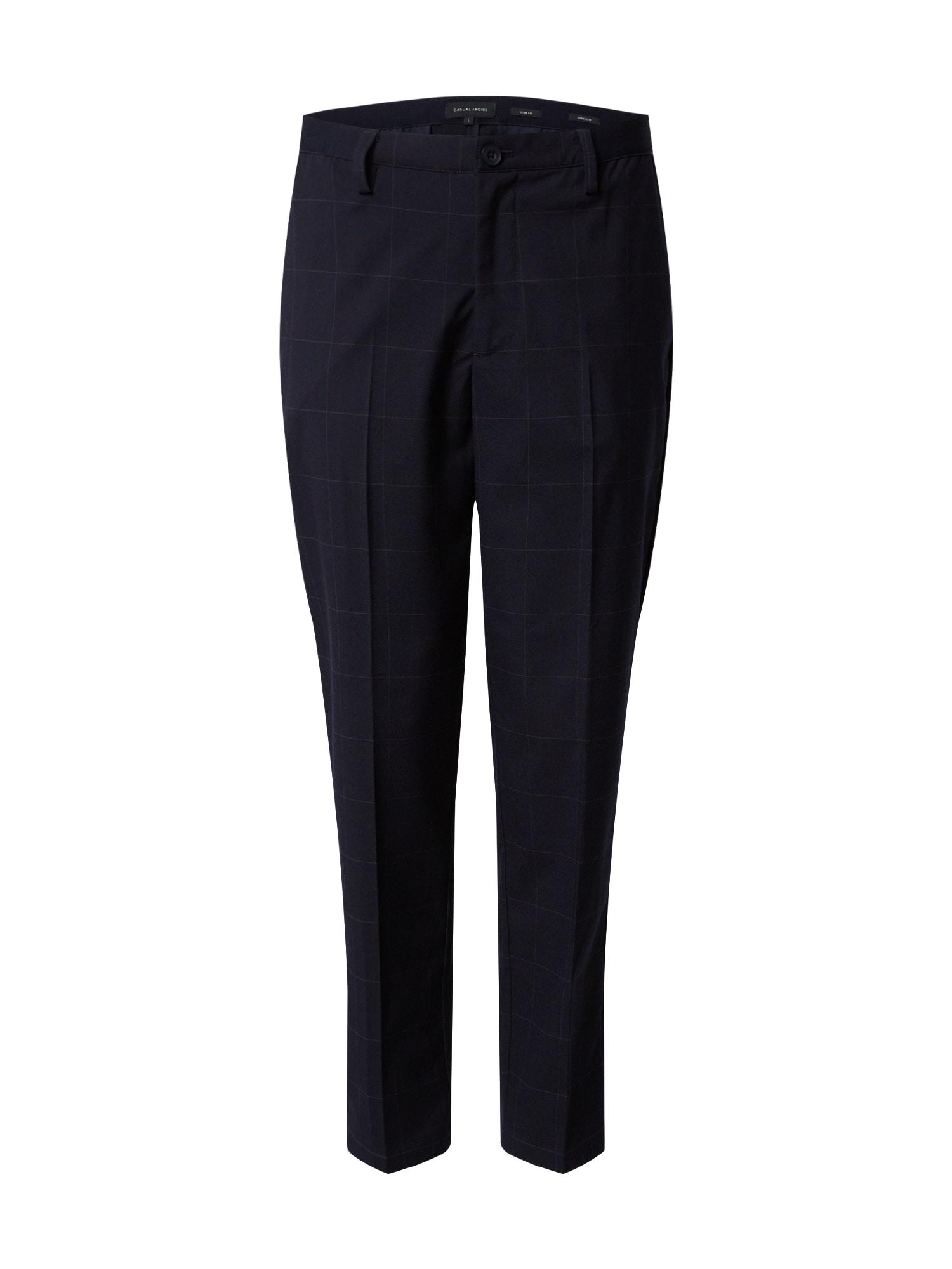 Casual Friday Kalhoty s puky 'Peder'  námořnická modř / šedý melír