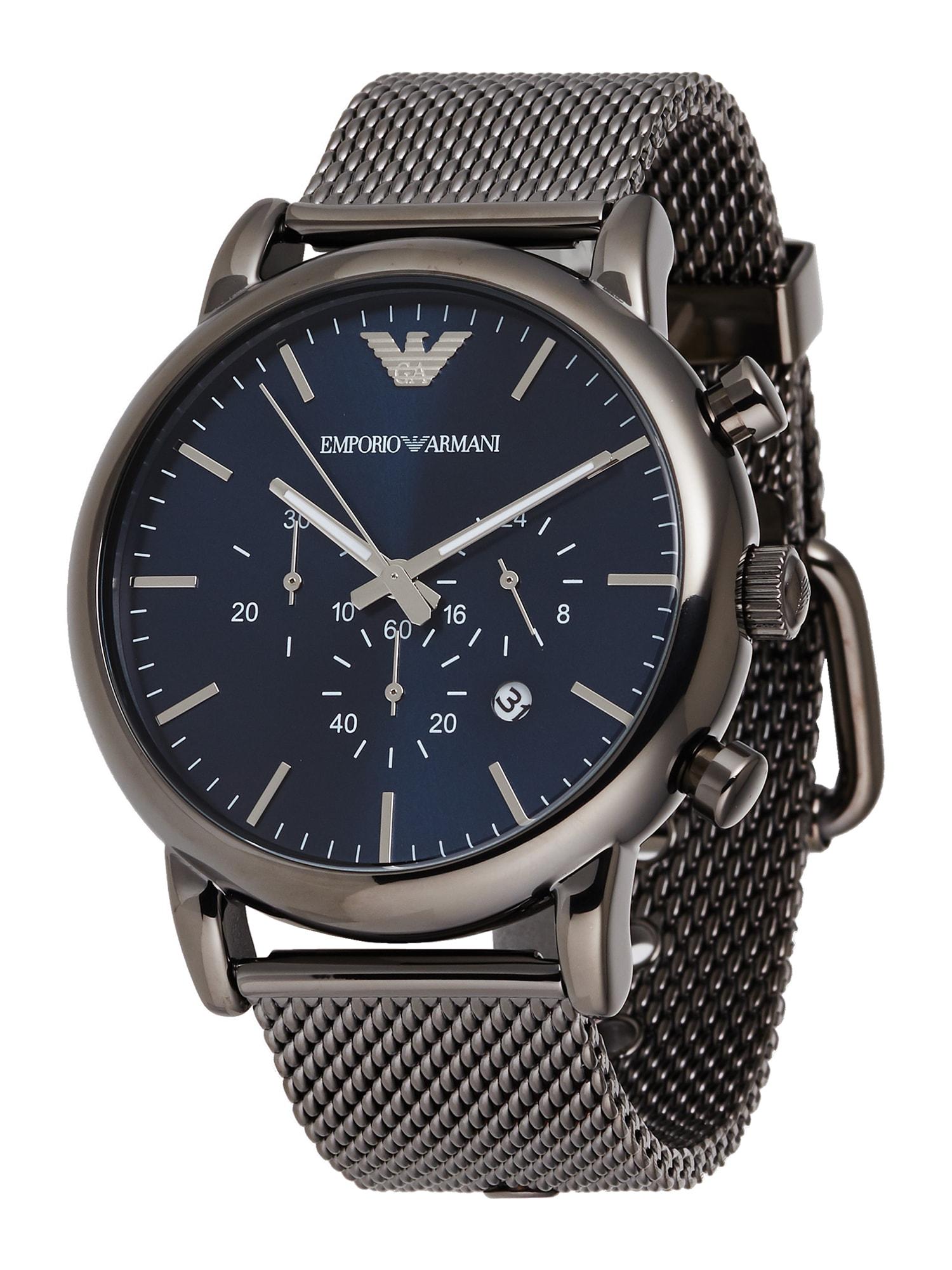 Emporio Armani Analoginis (įprasto dizaino) laikrodis sidabrinė / mėlyna
