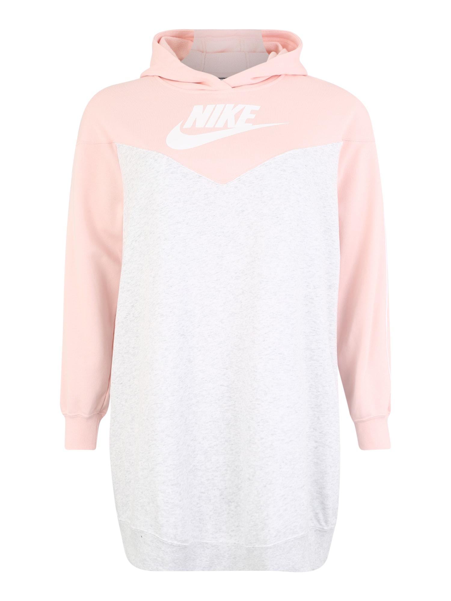 Šaty W NSW HRTG HOODY DRESS SB PLUS růžová bílá Nike Sportswear