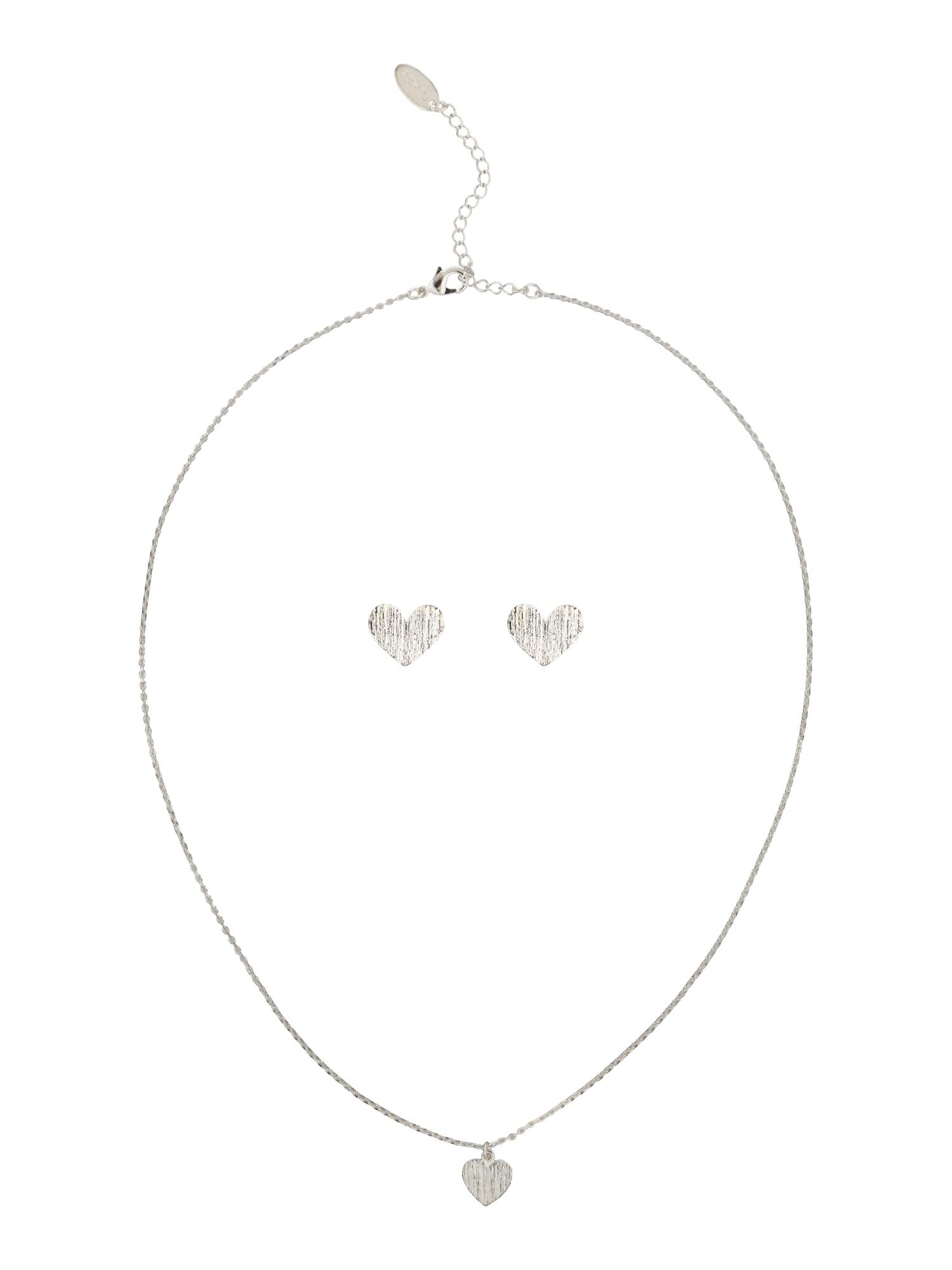 Schmucksets für Frauen - Orelia Schmuck Set 'Brushed Heart Giftbox' silber  - Onlineshop ABOUT YOU