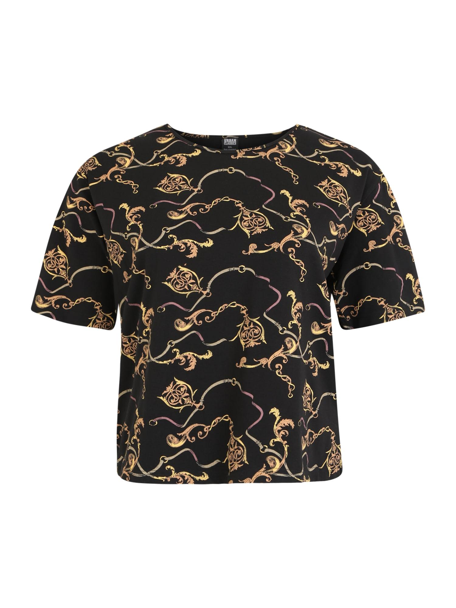 Urban Classics Curvy Marškinėliai juoda / auksas
