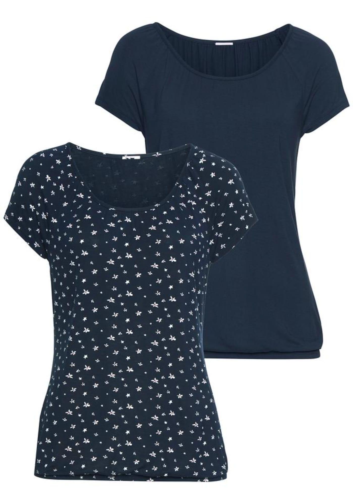 LASCANA Tričko  námořnická modř / bílá