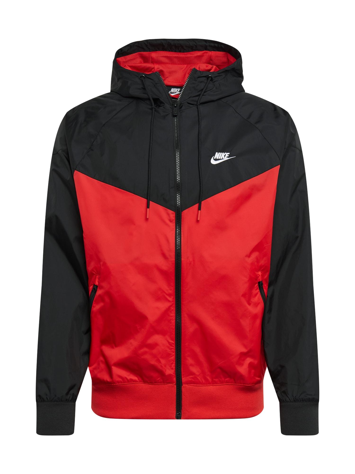 Nike Sportswear Demisezoninė striukė juoda / raudona