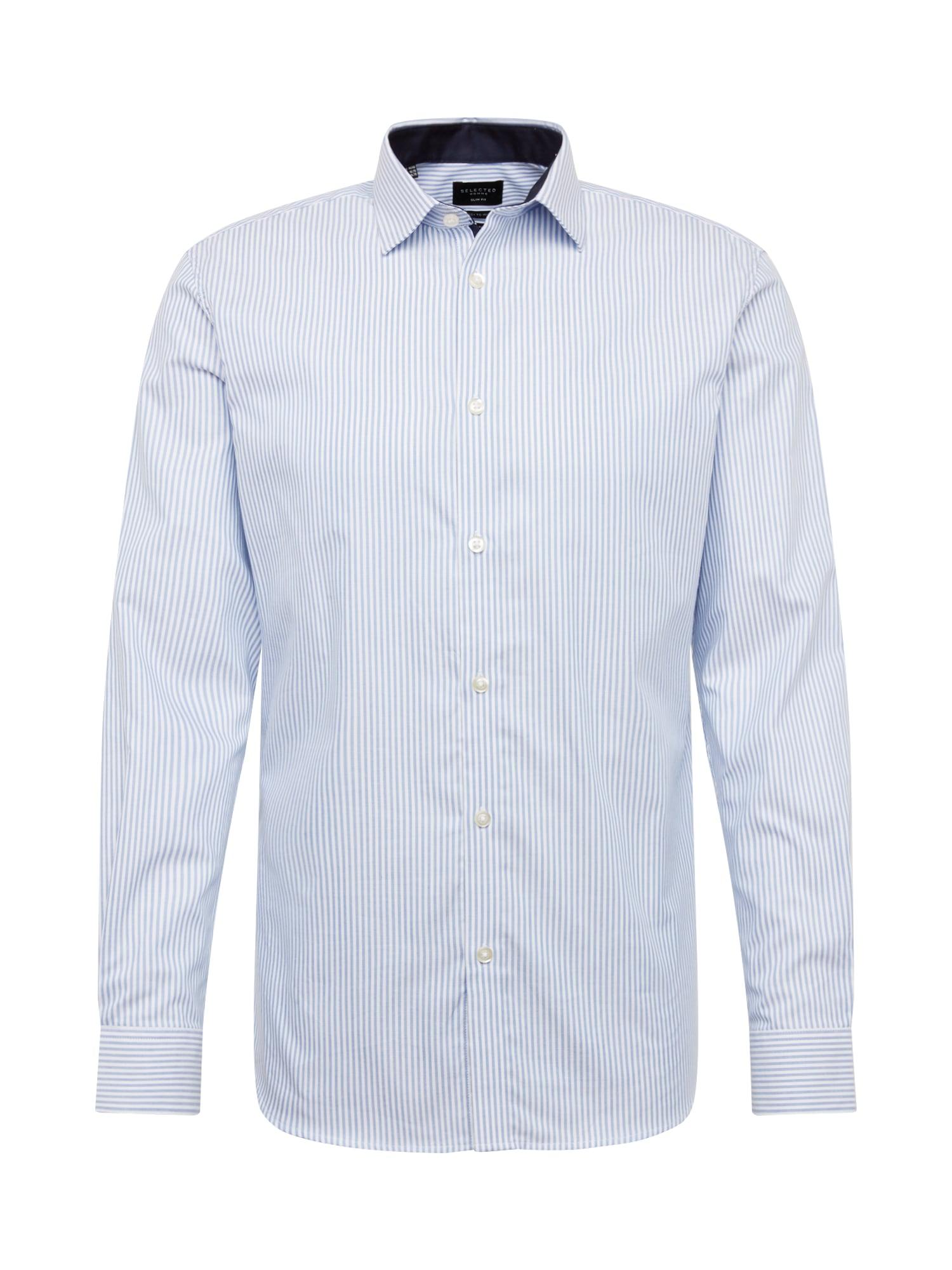 SELECTED HOMME Dalykinio stiliaus marškiniai šviesiai mėlyna / balta