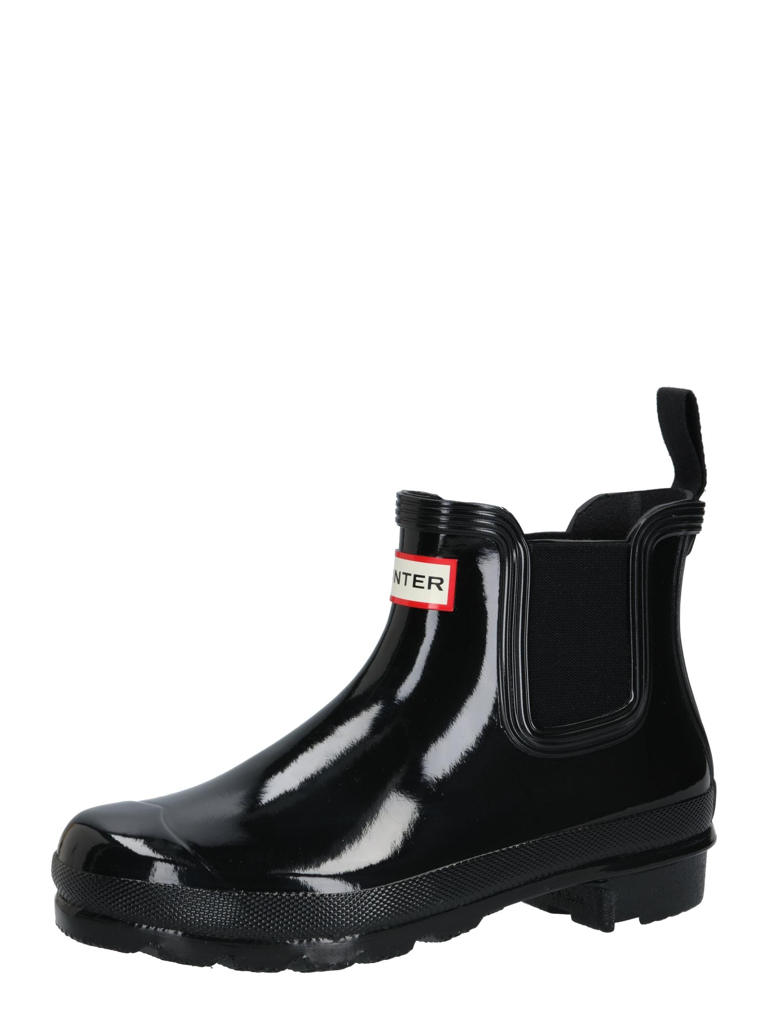 HUNTER Guminiai batai juoda / balta / raudona