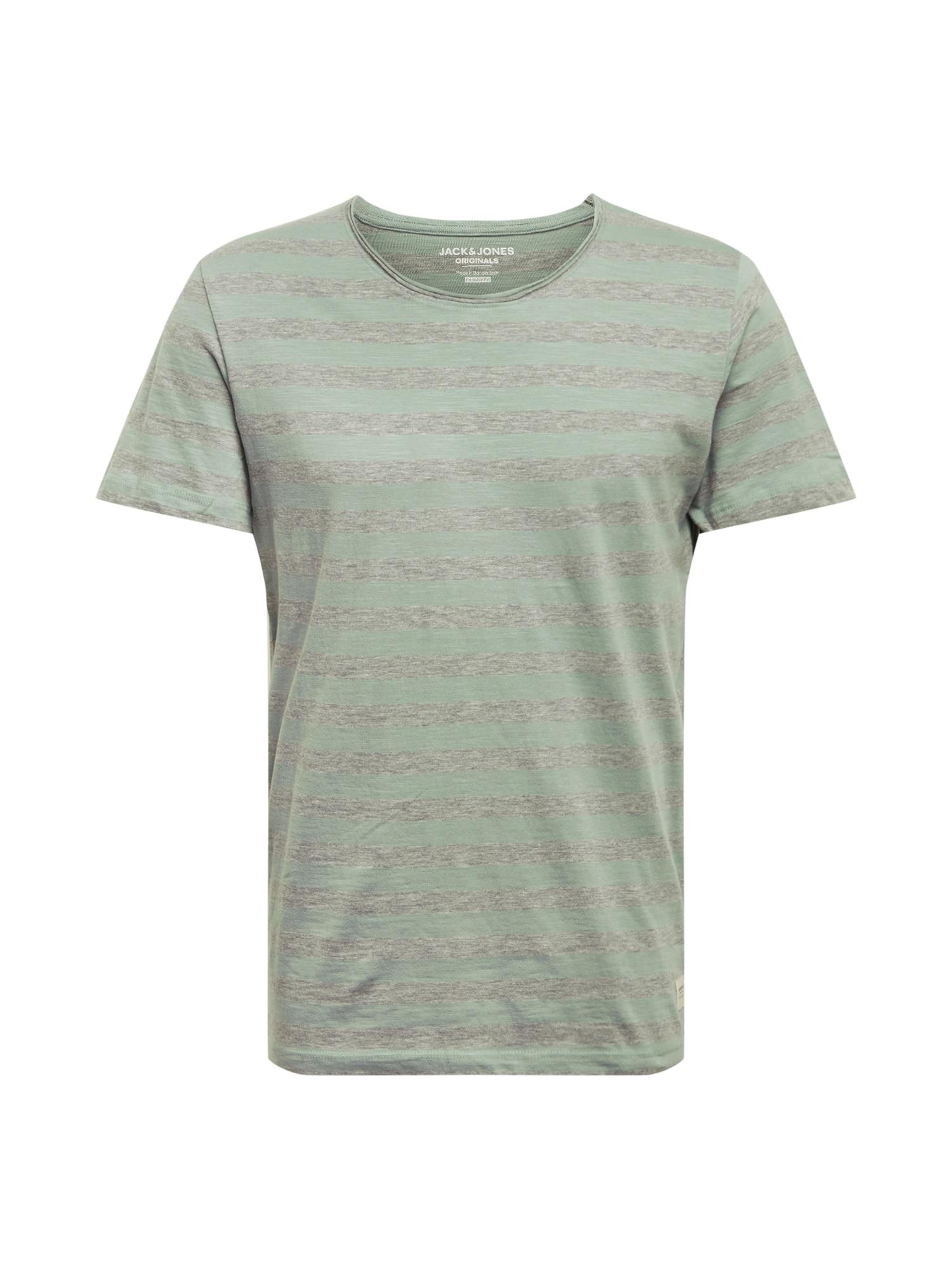 JACK & JONES Marškinėliai pilka / pastelinė žalia