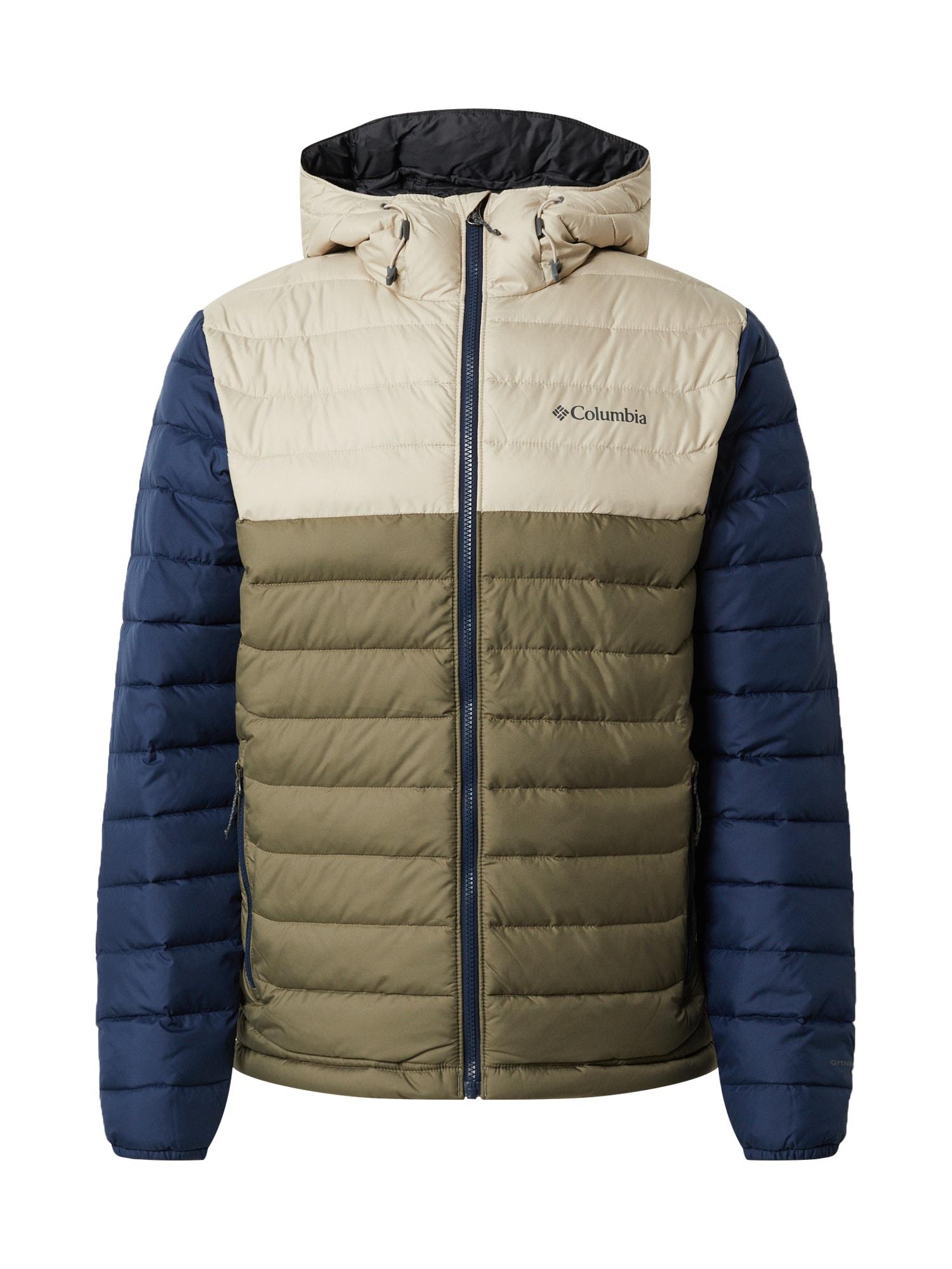 COLUMBIA Žieminė striukė 'Powder Lite' žalia / rusvai žalia / smėlio / tamsiai mėlyna